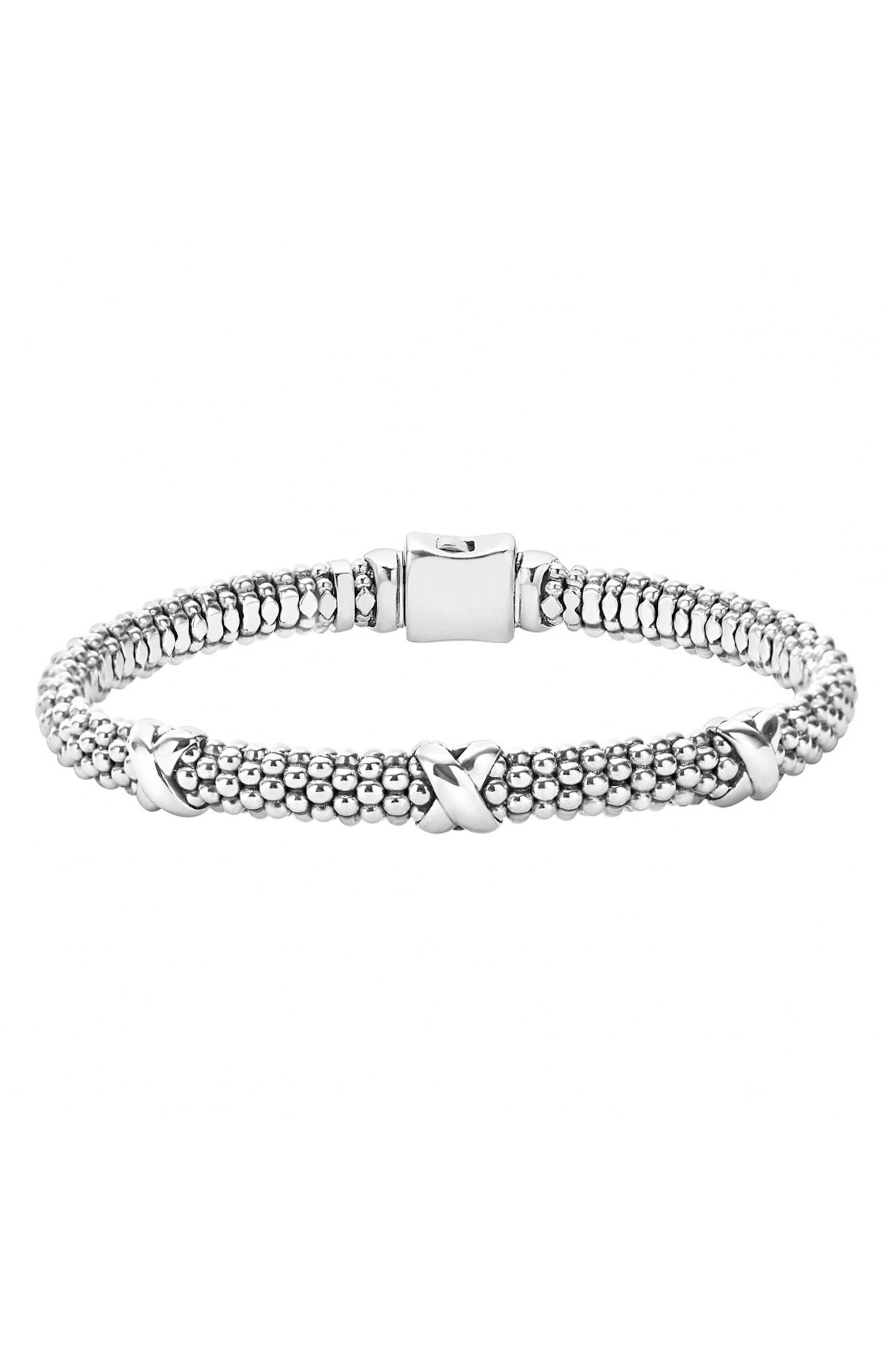 'Signature Caviar' Mini Oval Rope Bracelet,                             Main thumbnail 1, color,                             STERLING SILVER