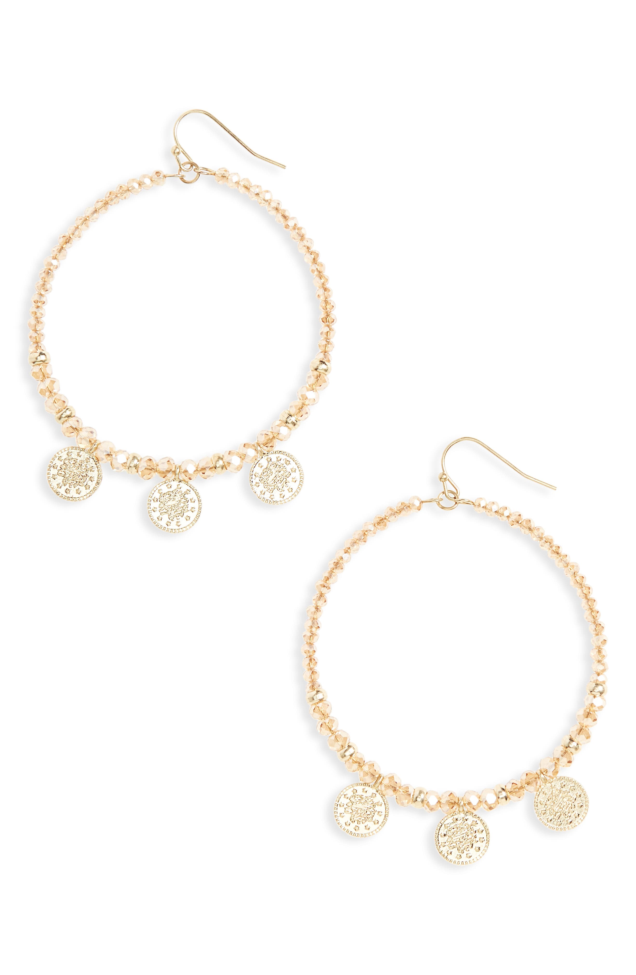 Glass Bead & Coin Hoop Earrings,                             Main thumbnail 2, color,