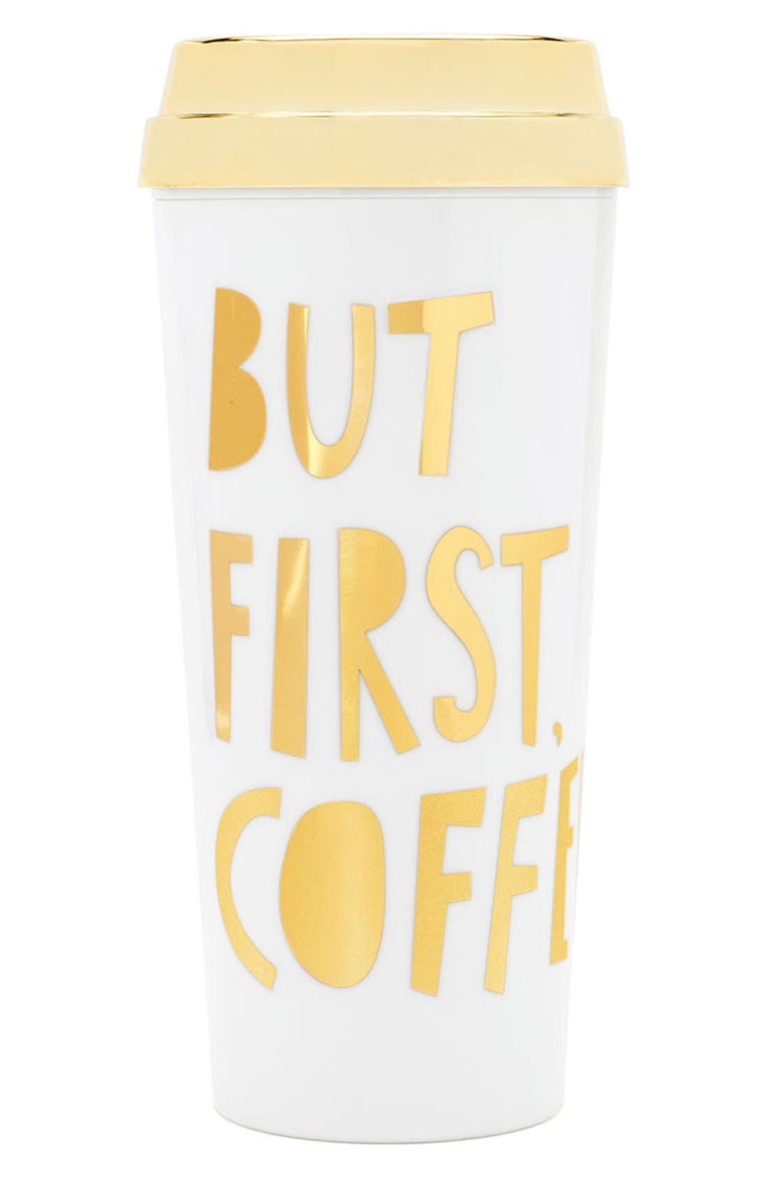 'But First Coffee' Thermal Travel Mug,                             Main thumbnail 1, color,                             110