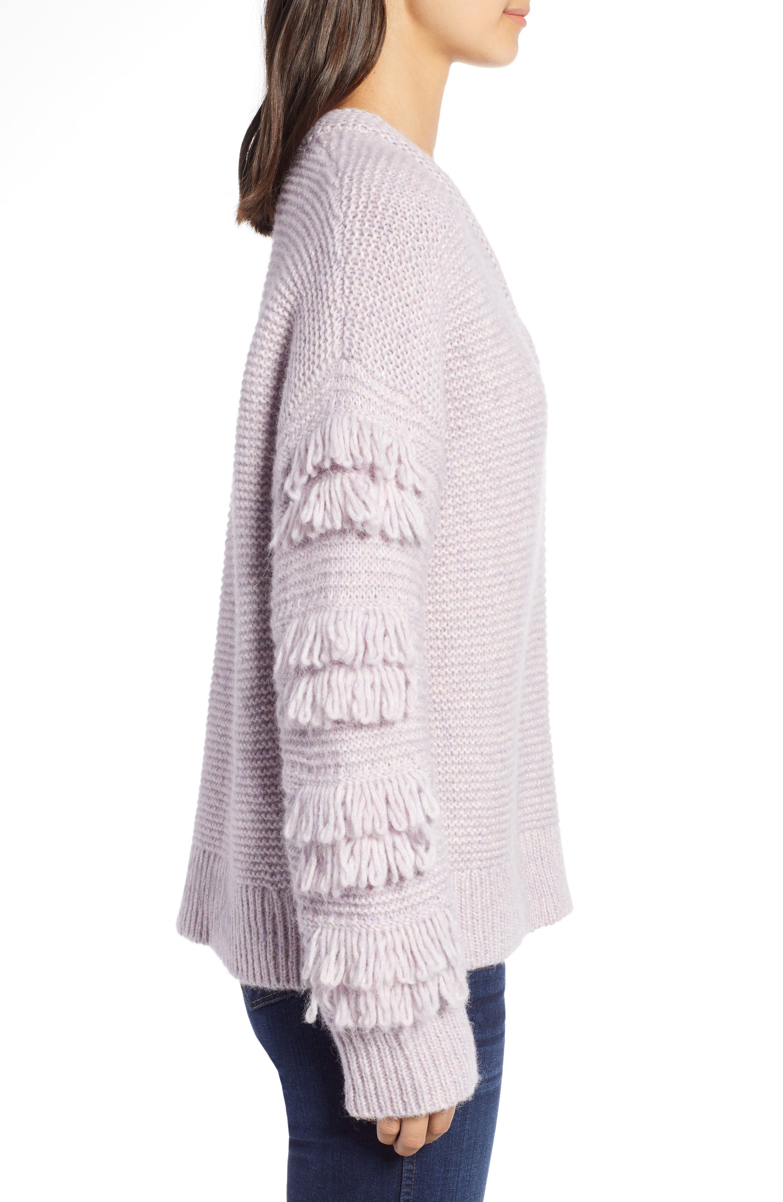 Fringe Sleeve Pullover Sweater,                             Alternate thumbnail 3, color,                             HEATHER PERIWINKLE