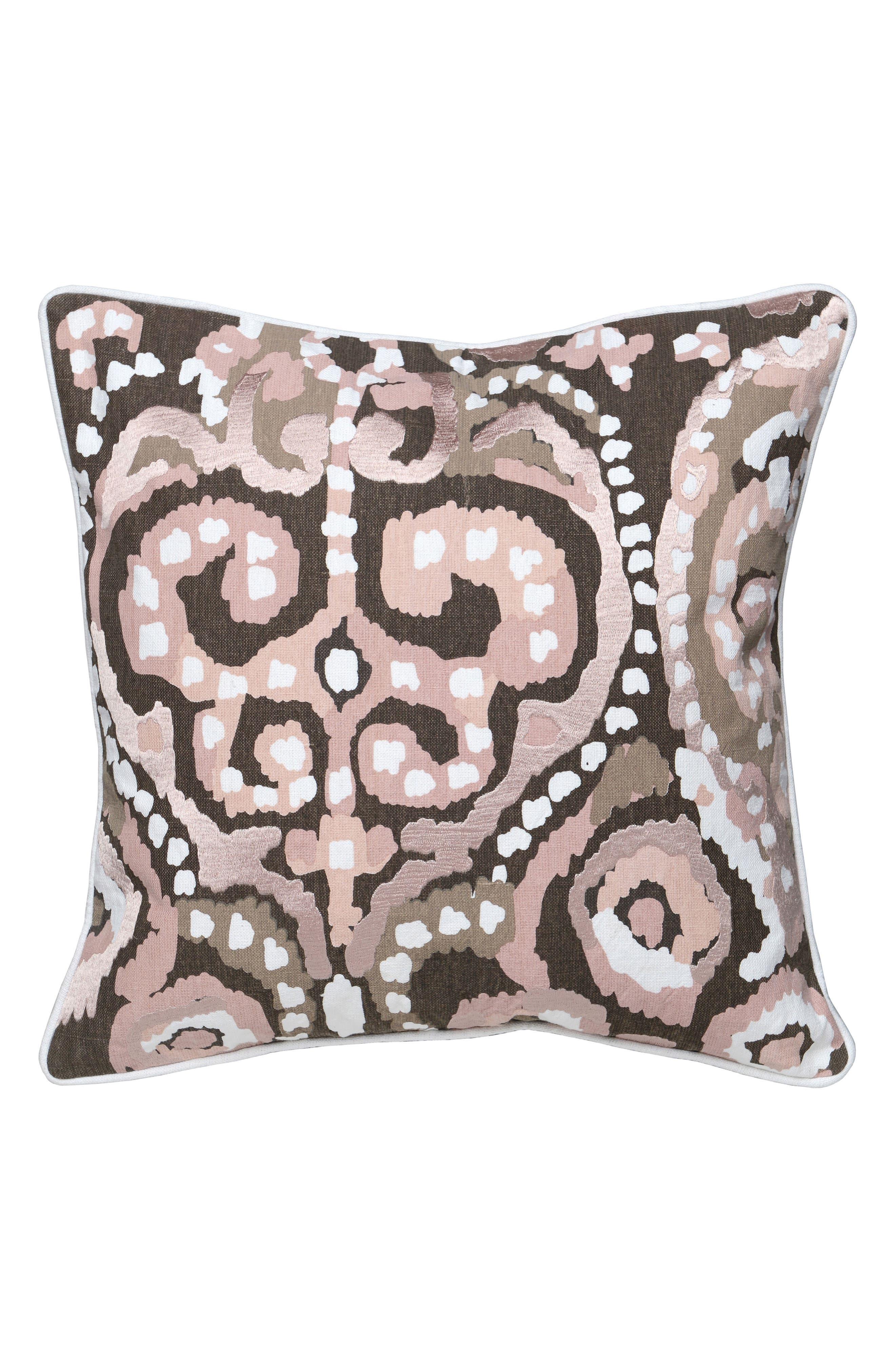 Mina Accent Pillow,                             Main thumbnail 1, color,                             BLUSH/ BROWN