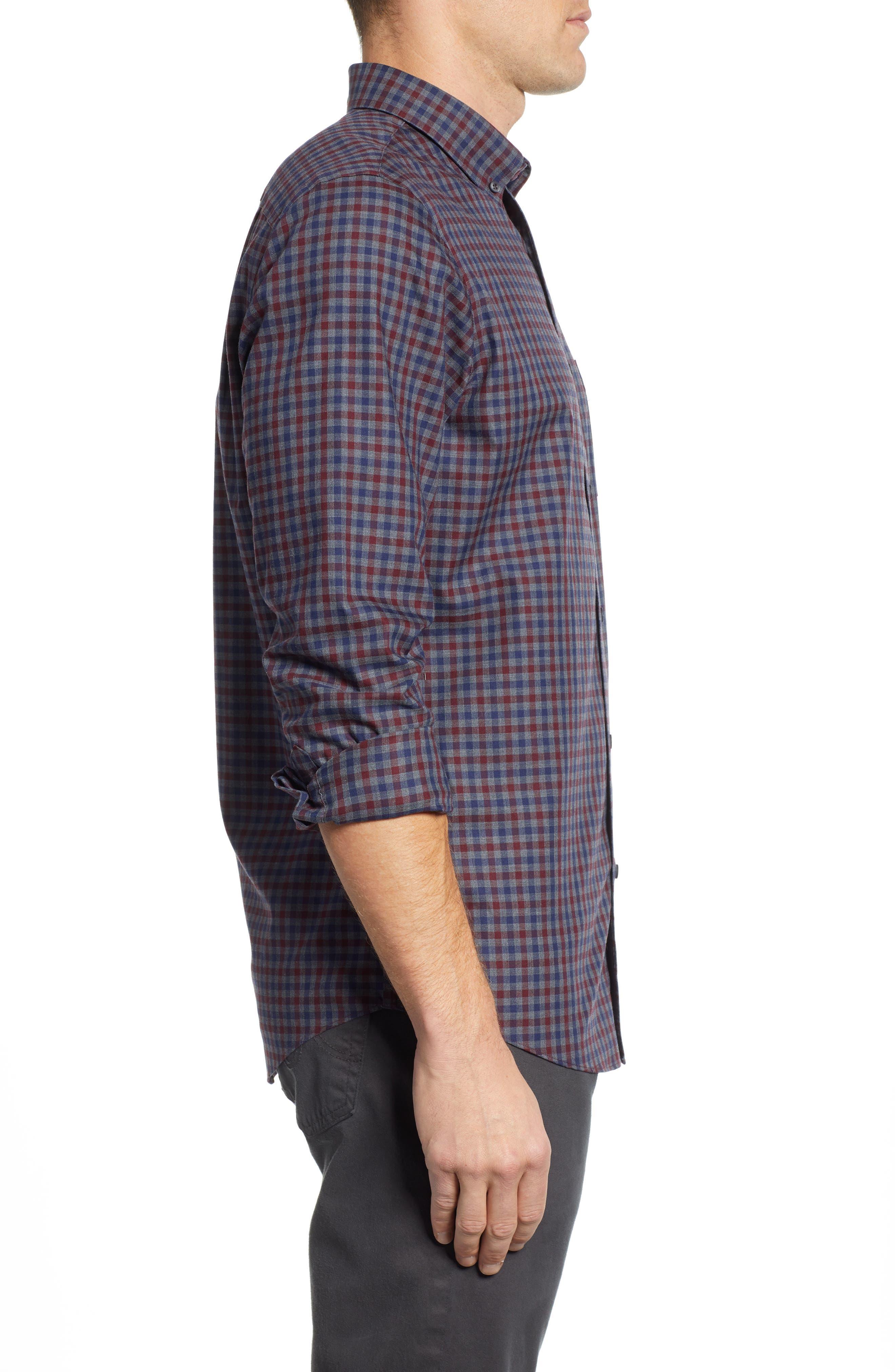 Smartcare<sup>™</sup> Regular Fit Check Sport Shirt,                             Alternate thumbnail 3, color,                             BURGUNDY ROYALE NAVY CHECK