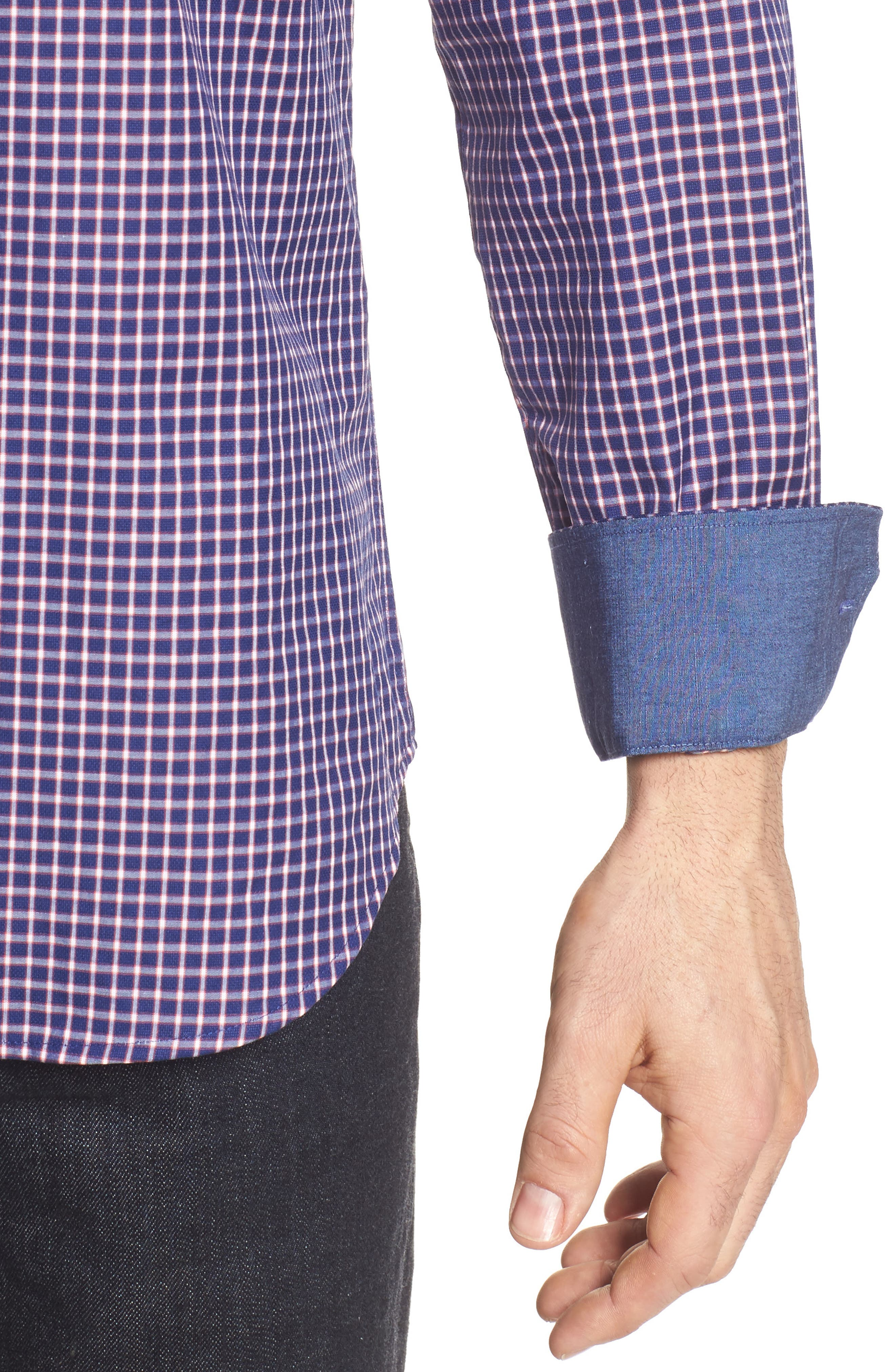 Shaped Fit Check Sport Shirt,                             Alternate thumbnail 4, color,                             411