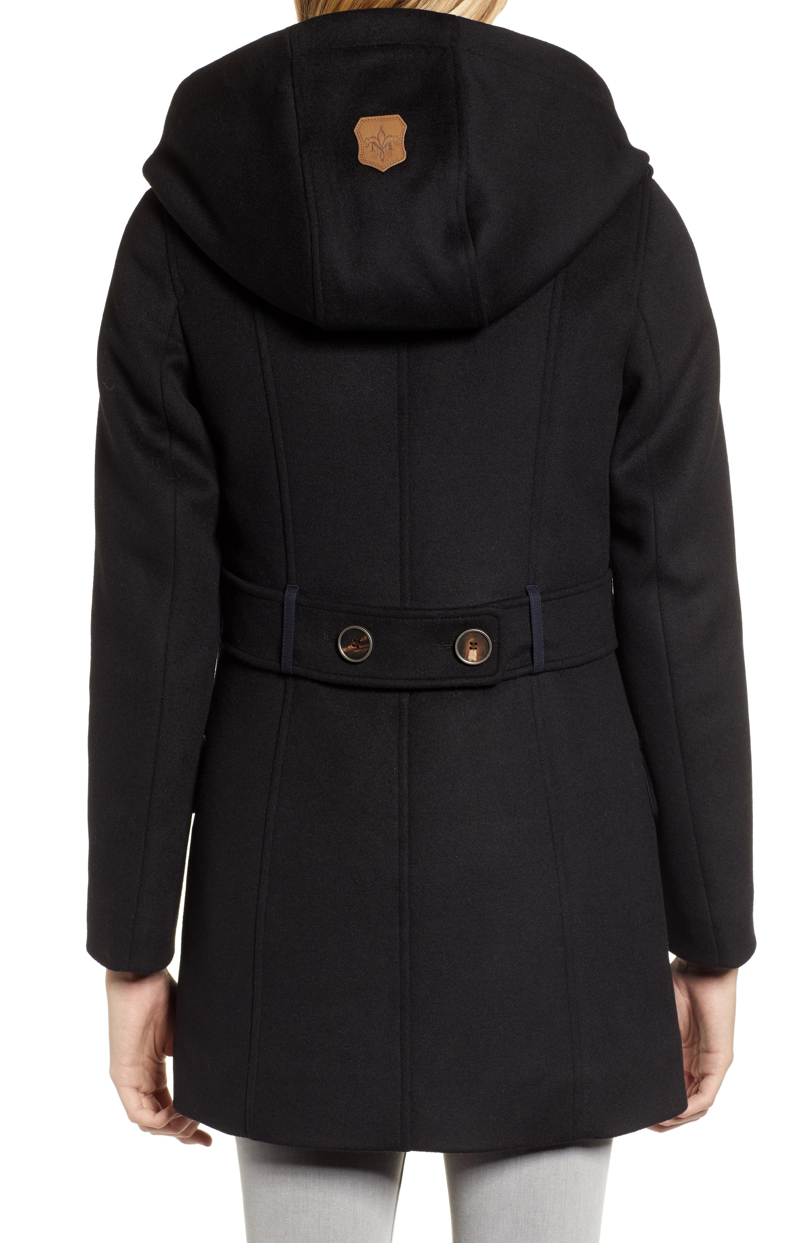 Hooded Peacoat,                             Alternate thumbnail 2, color,                             BLACK