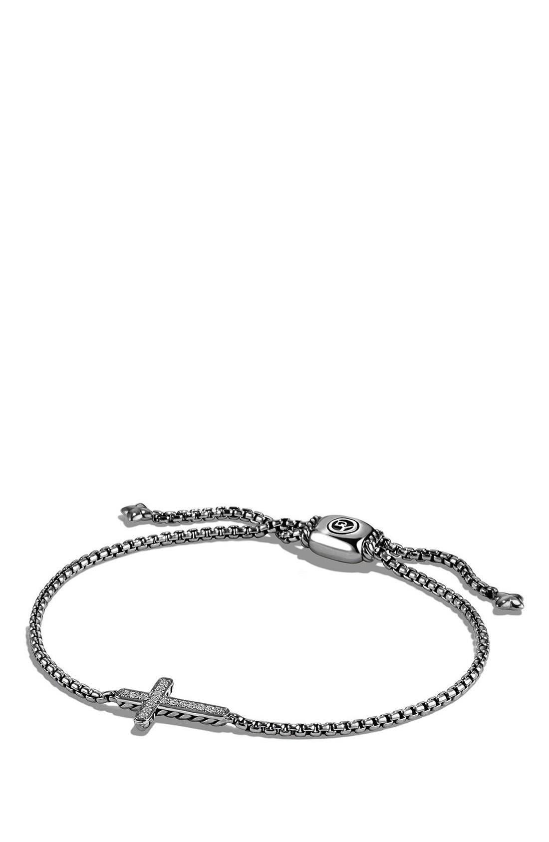 'Petite Pavé' Cross Bracelet with Diamonds,                             Main thumbnail 1, color,                             SILVER