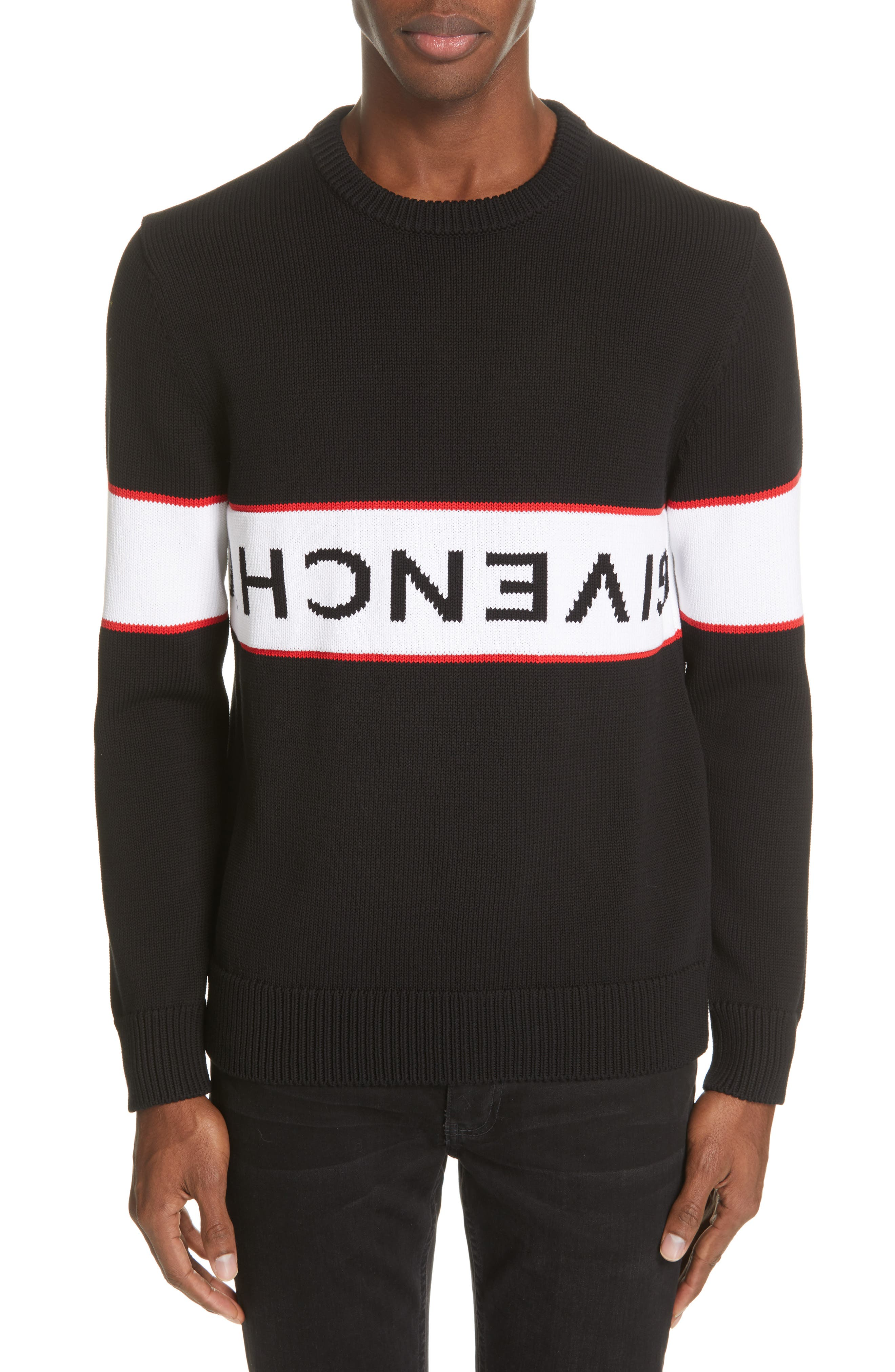 Upside Down Logo Sweater,                             Main thumbnail 1, color,                             BLACK
