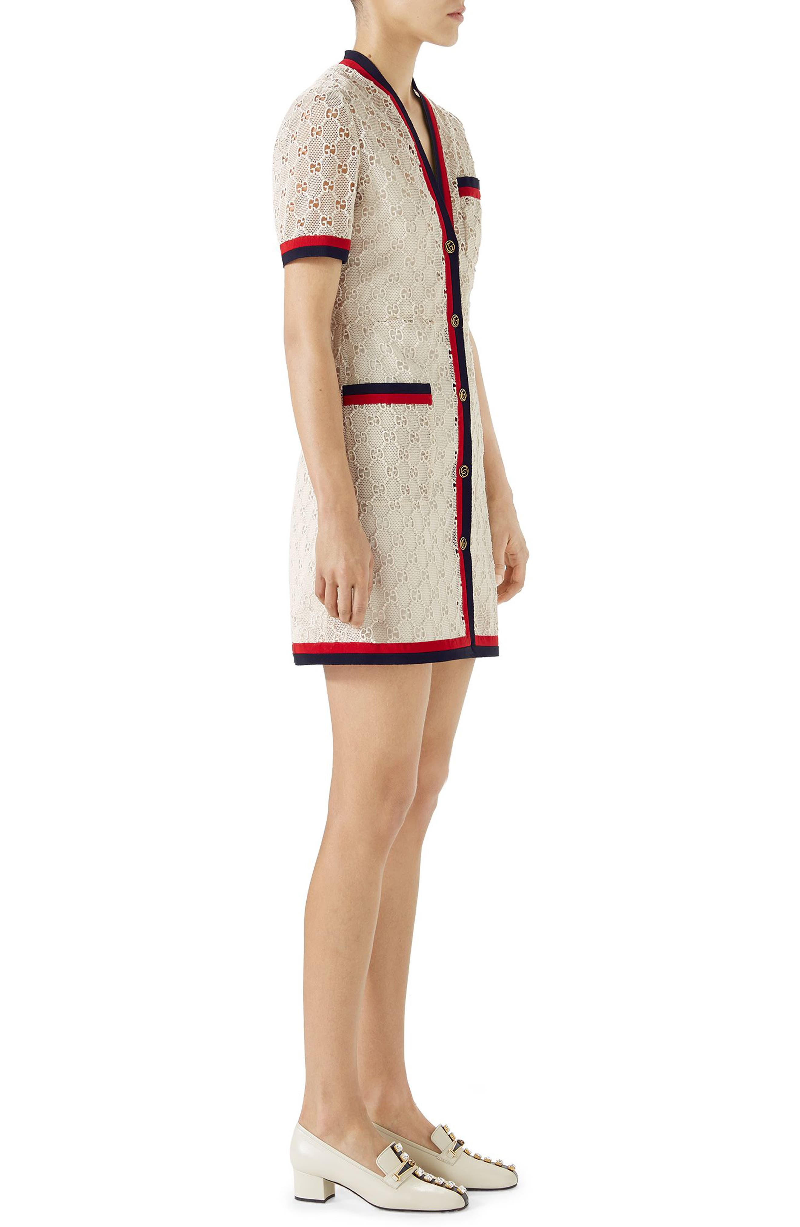 GG Macramé Dress,                             Alternate thumbnail 3, color,                             GARDENIA/ RED/ BK/ RED