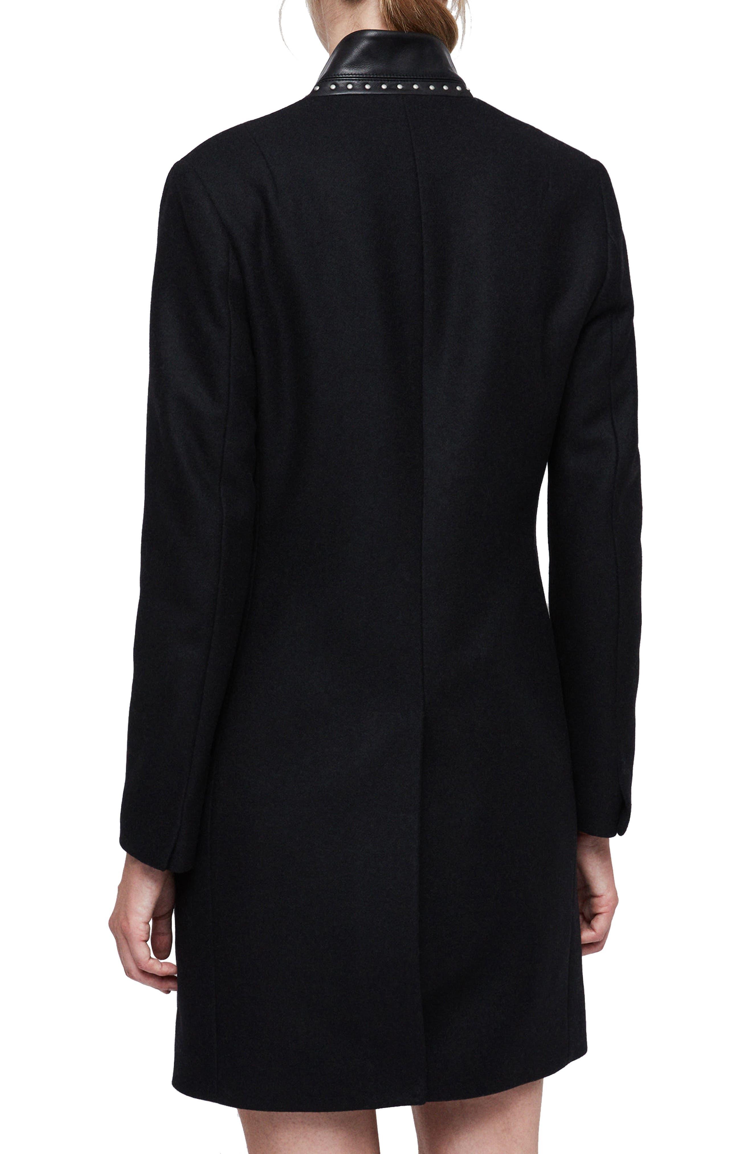 Leni Stud Trim Leather Collar Coat,                             Alternate thumbnail 2, color,                             BLACK