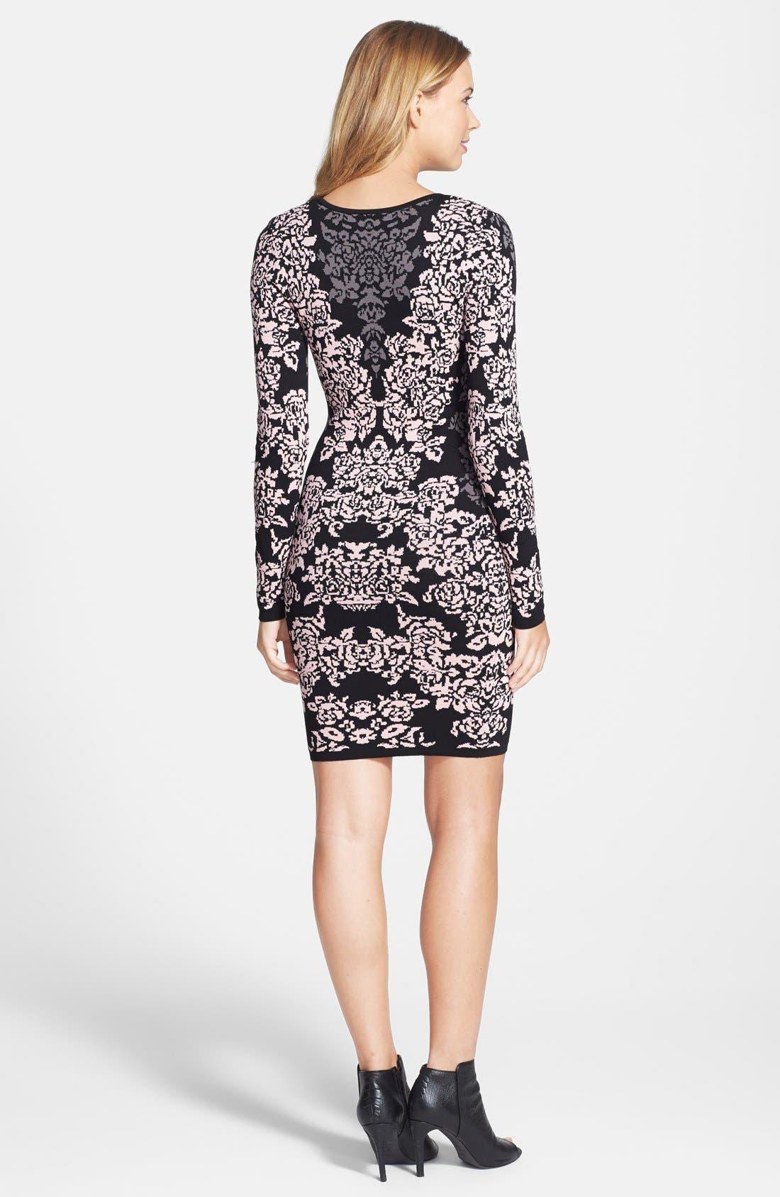 Jacquard Knit Body-Con Dress,                             Alternate thumbnail 5, color,                             650