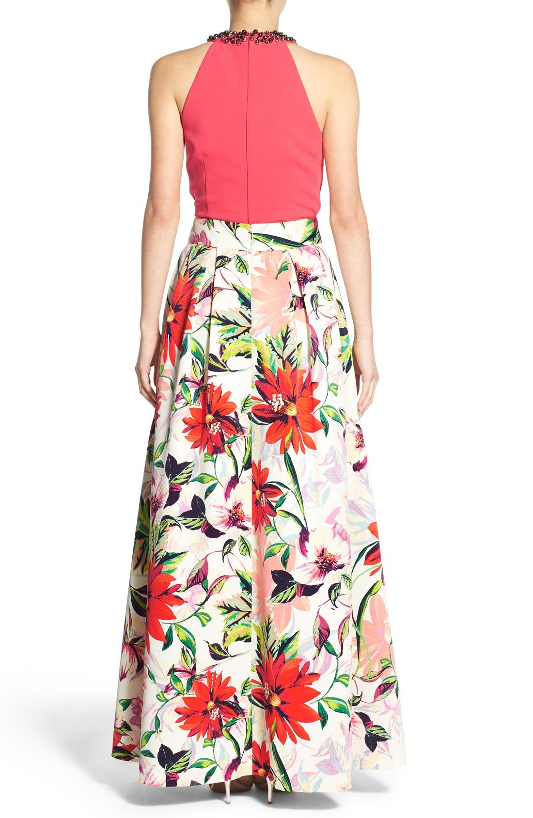 ELIZA J,                             Floral Print Faille Ball Skirt,                             Alternate thumbnail 6, color,                             831