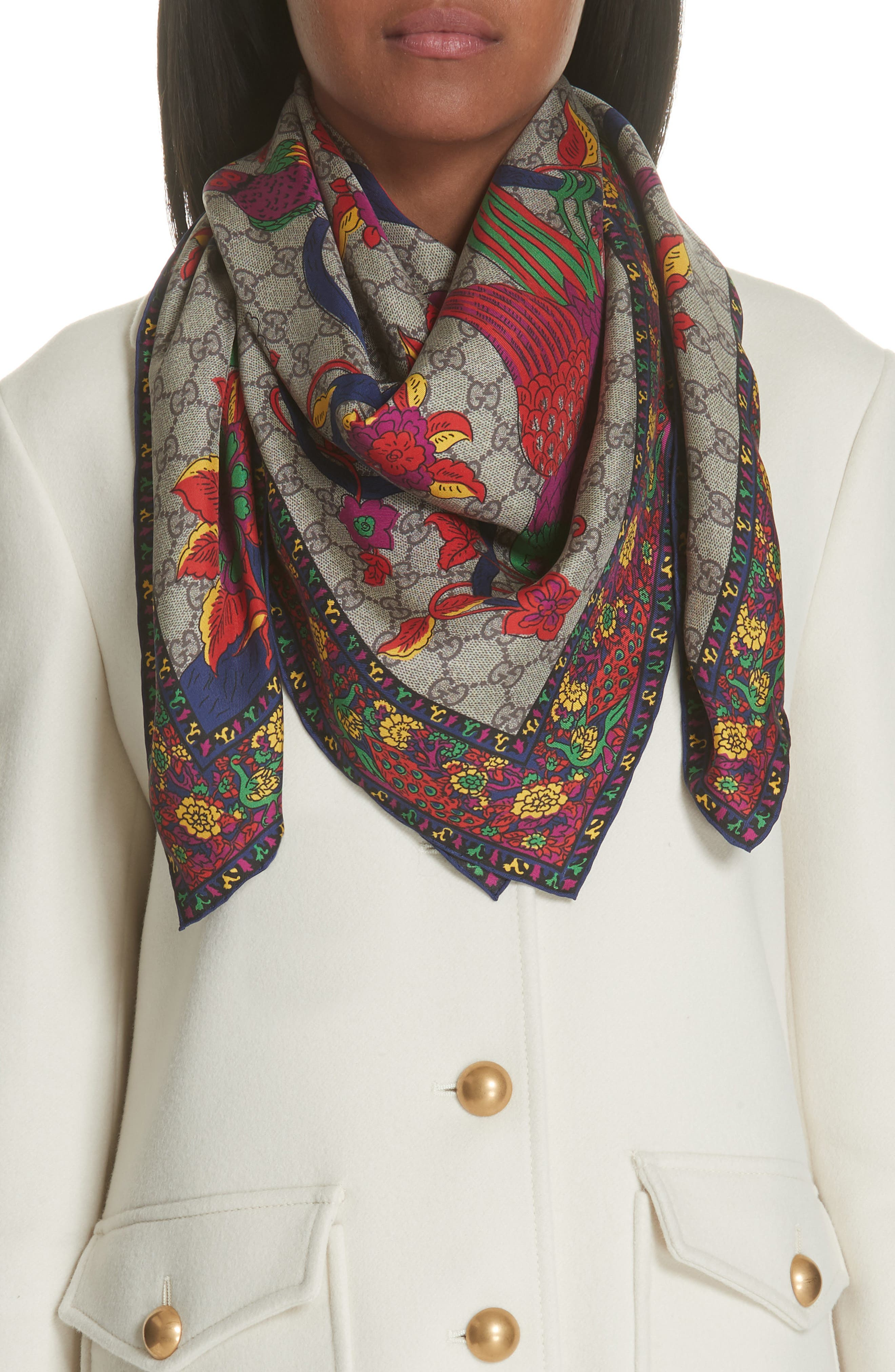Jubilee Square Silk Scarf,                             Main thumbnail 1, color,                             400