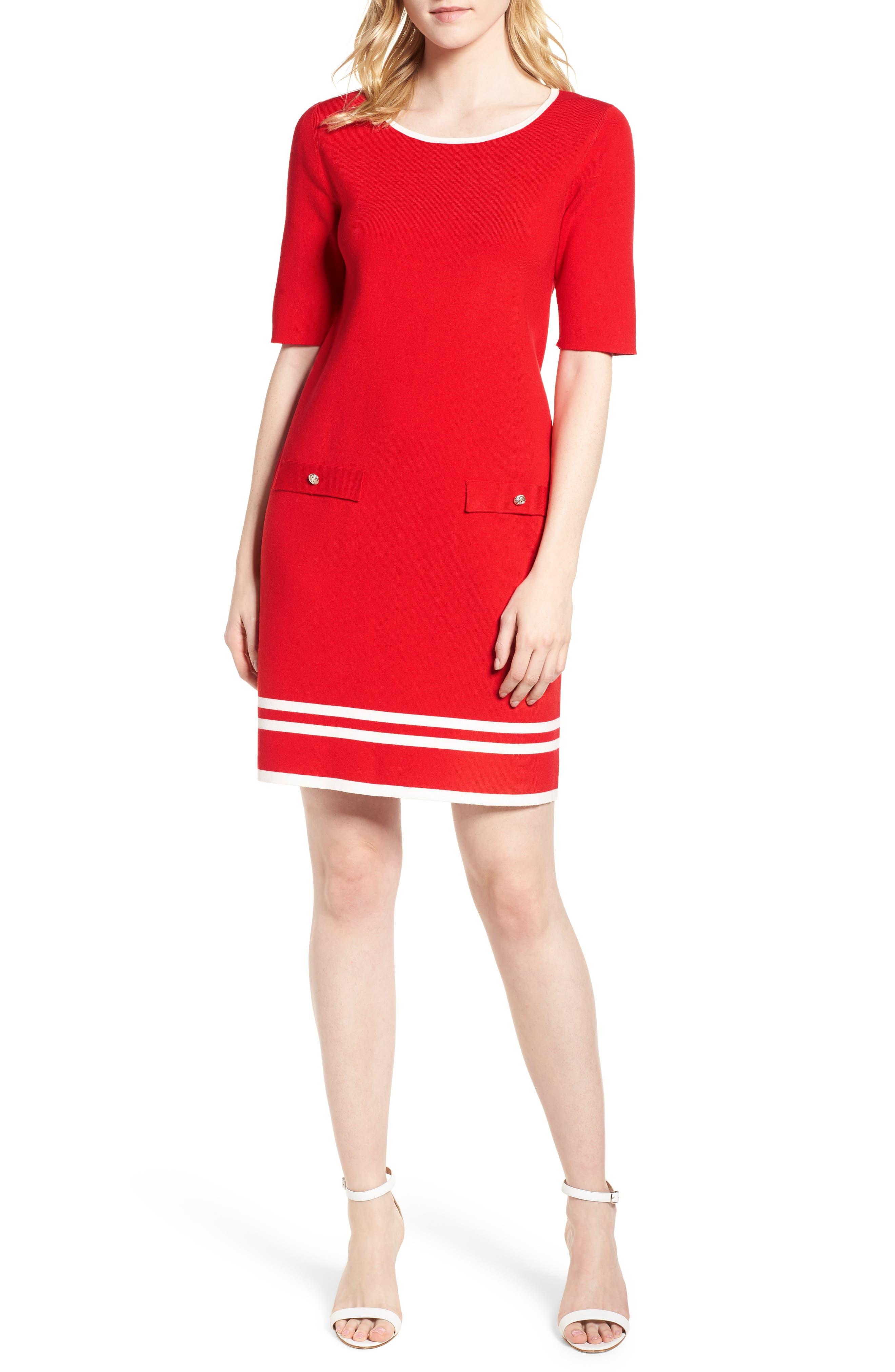 Ann Klein New York Stripe Border Knit Sheath Dress,                             Main thumbnail 2, color,