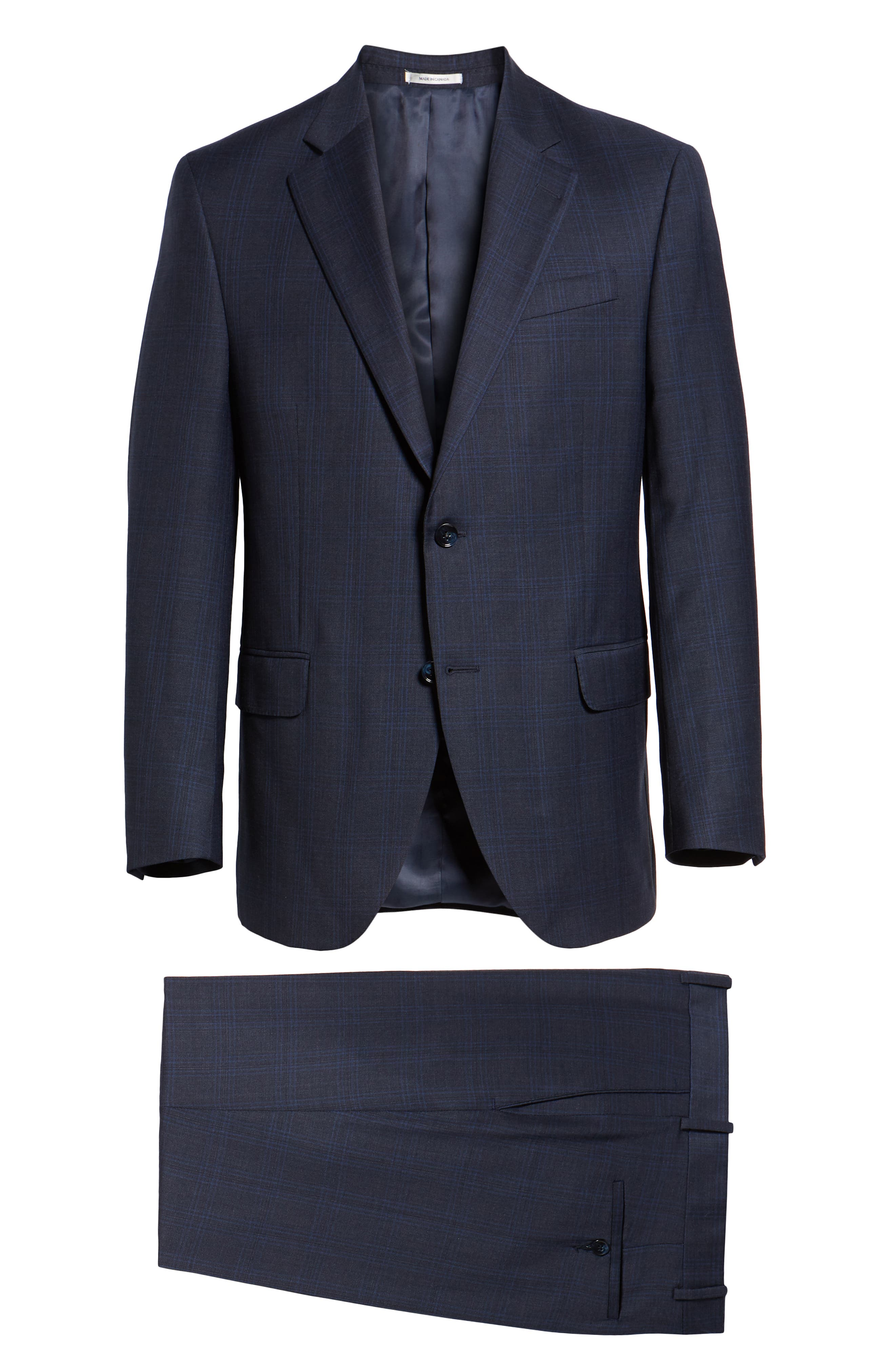 Flynn Classic Fit Plaid Wool Suit,                             Alternate thumbnail 8, color,                             NAVY