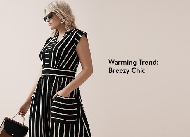 Warming trends, breezy chic. Black-and-white striped dress.