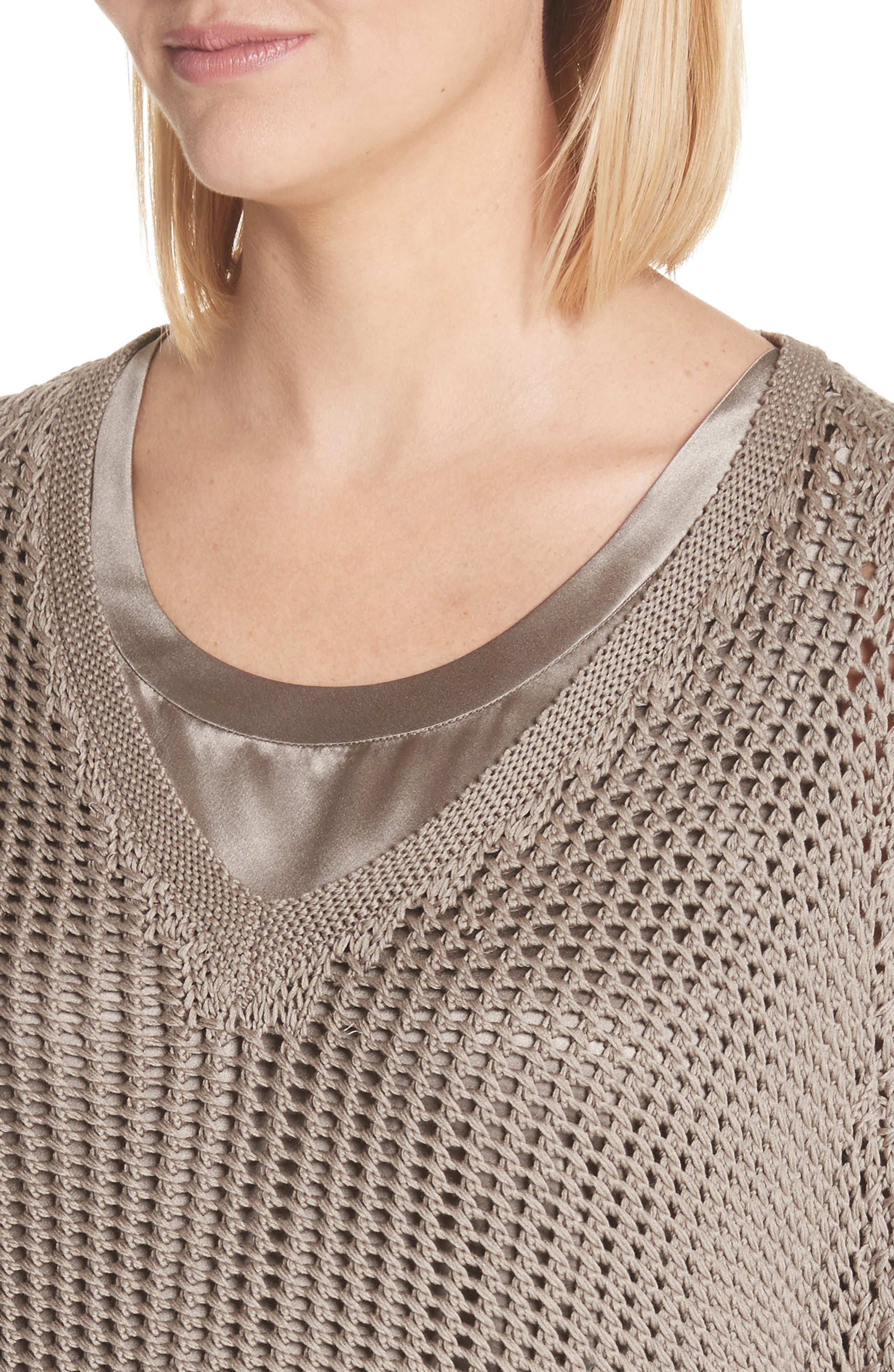 Mixed Stitch Cotton & Silk Sweater,                             Alternate thumbnail 4, color,                             026