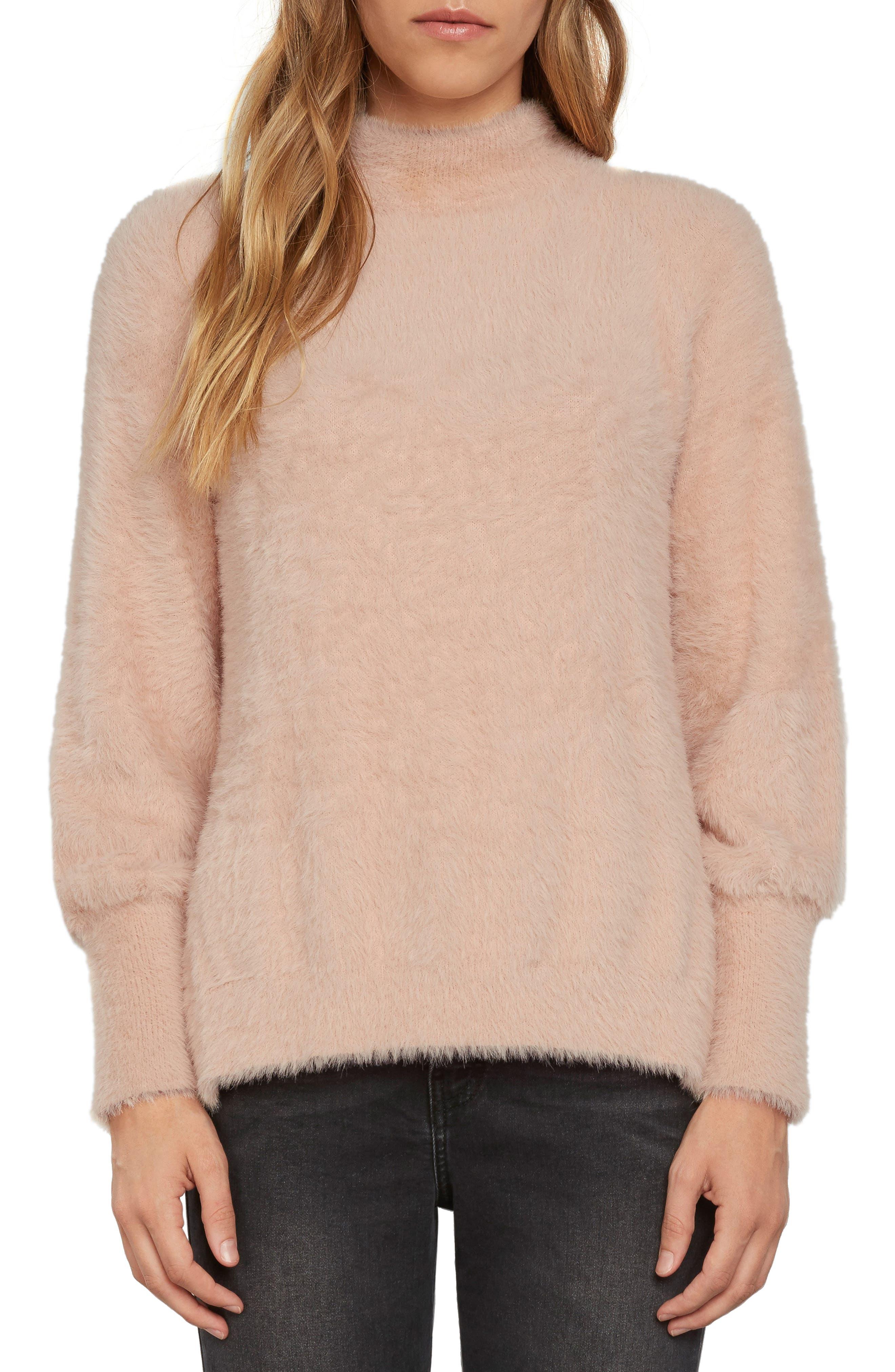 Fuzzy Mock Neck Sweater,                             Main thumbnail 3, color,