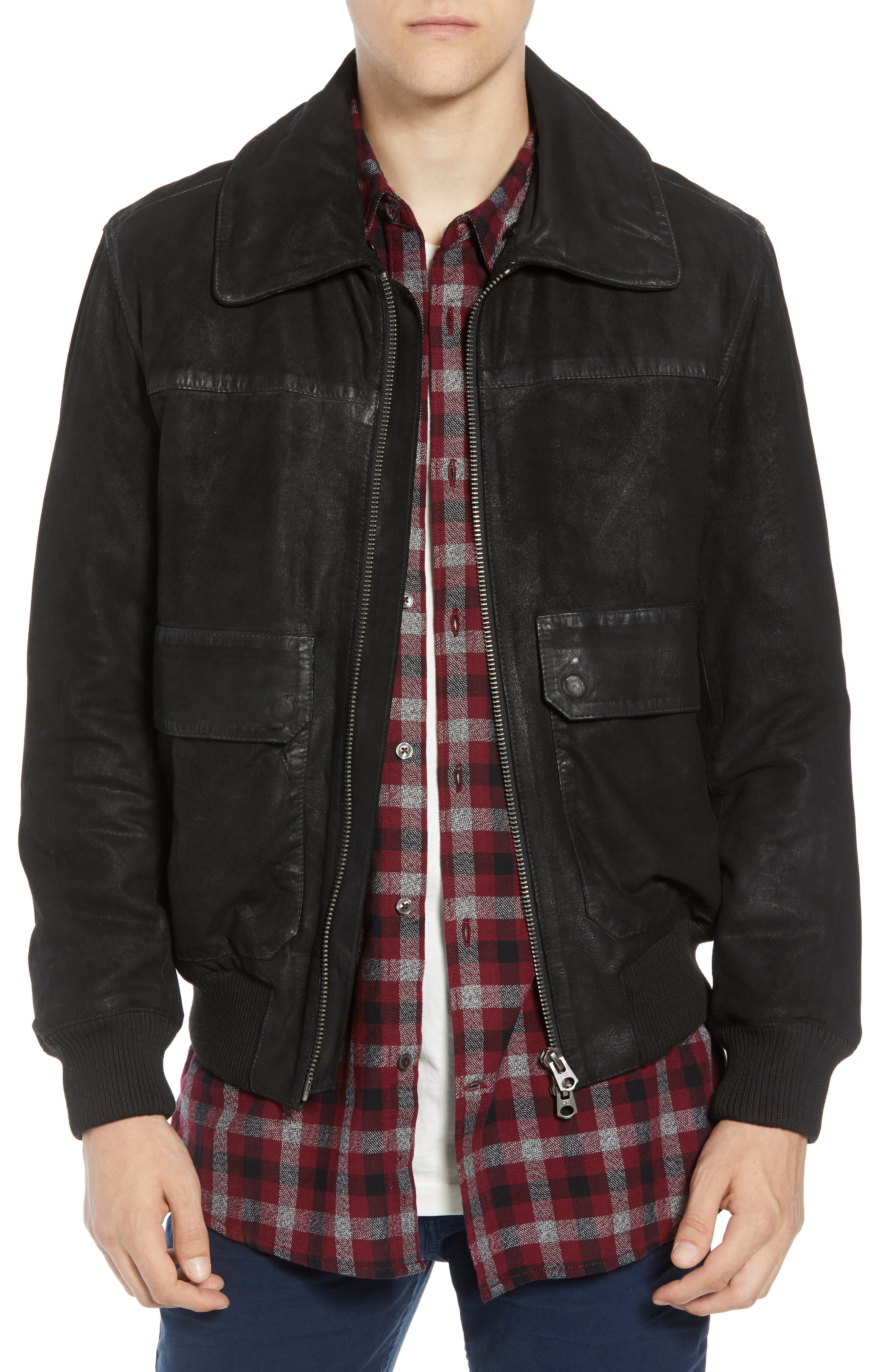 Washed Sheepskin Leather Jacket with Faux Shearling Trim,                             Alternate thumbnail 4, color,                             BLACK