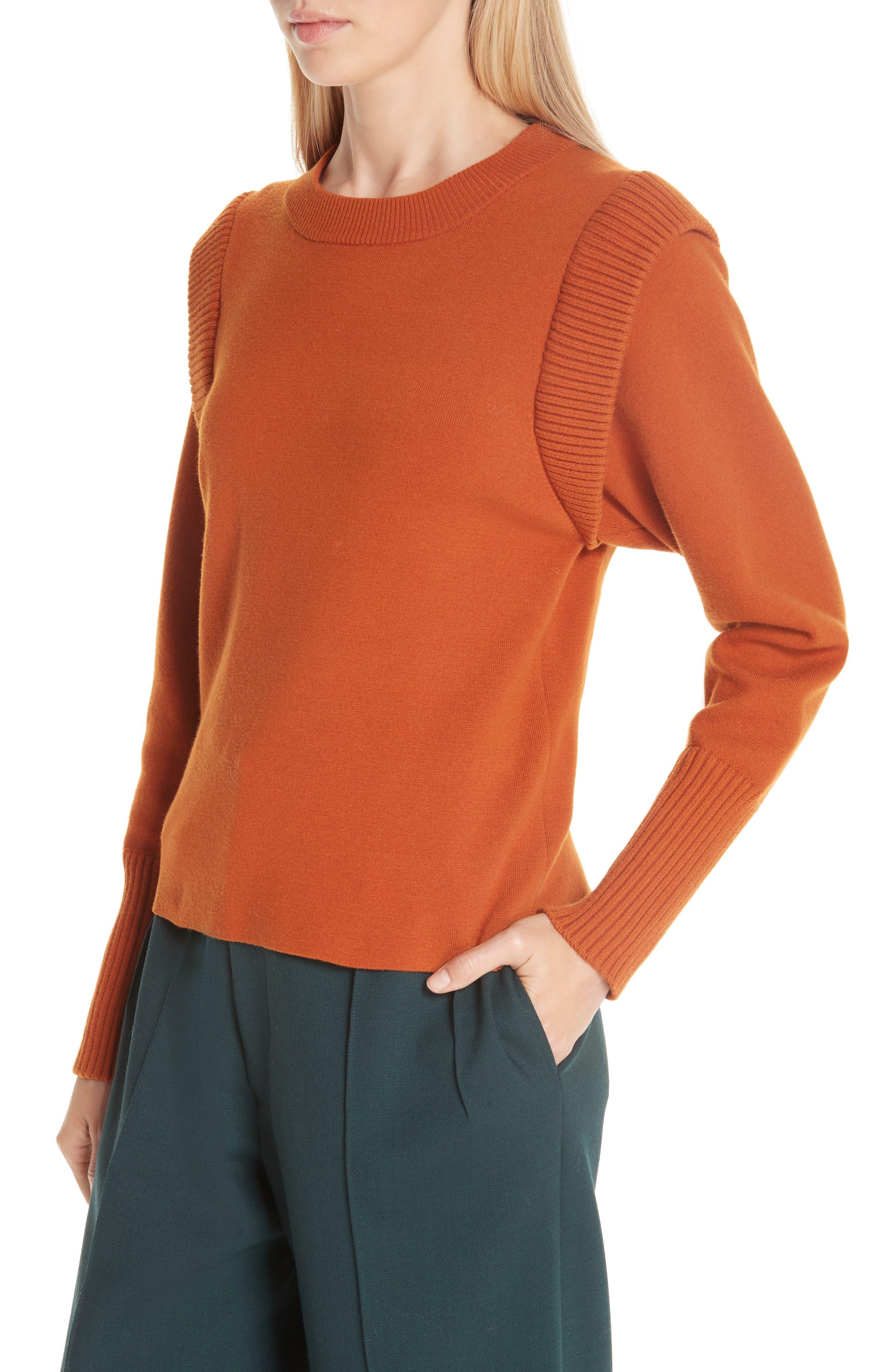 SEA,                             Rib Trim Milano Knit Sweater,                             Alternate thumbnail 4, color,                             800