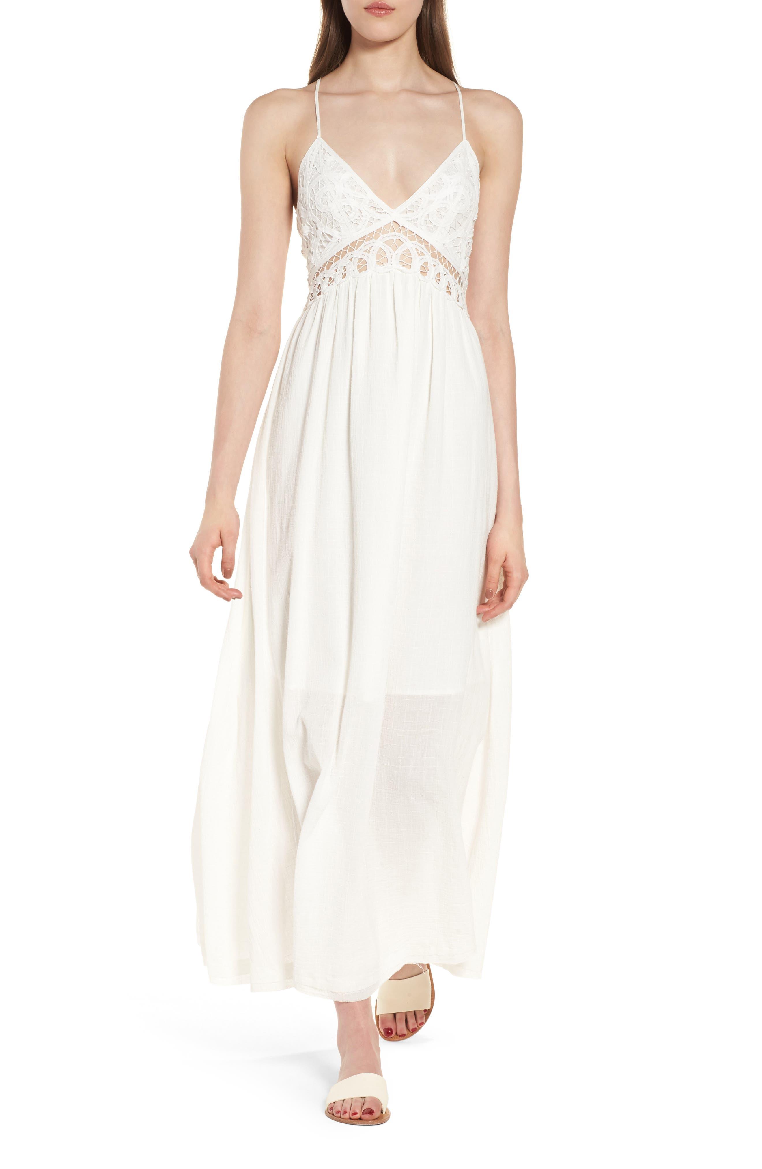 Lace Inset Empire Waist Maxi Dress,                             Main thumbnail 1, color,                             100