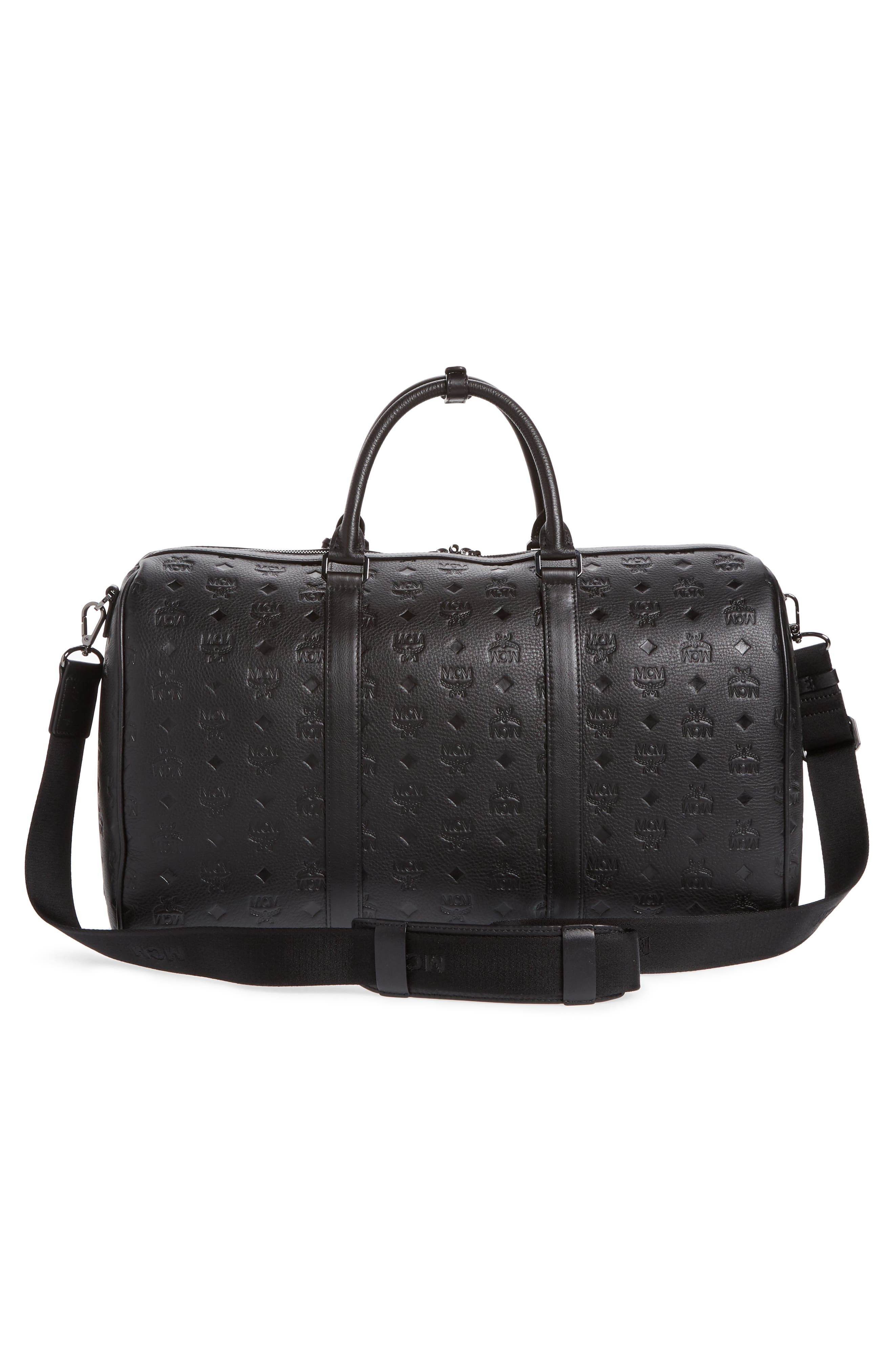MCM,                             Ottomar Leather Duffel Bag,                             Alternate thumbnail 3, color,                             001