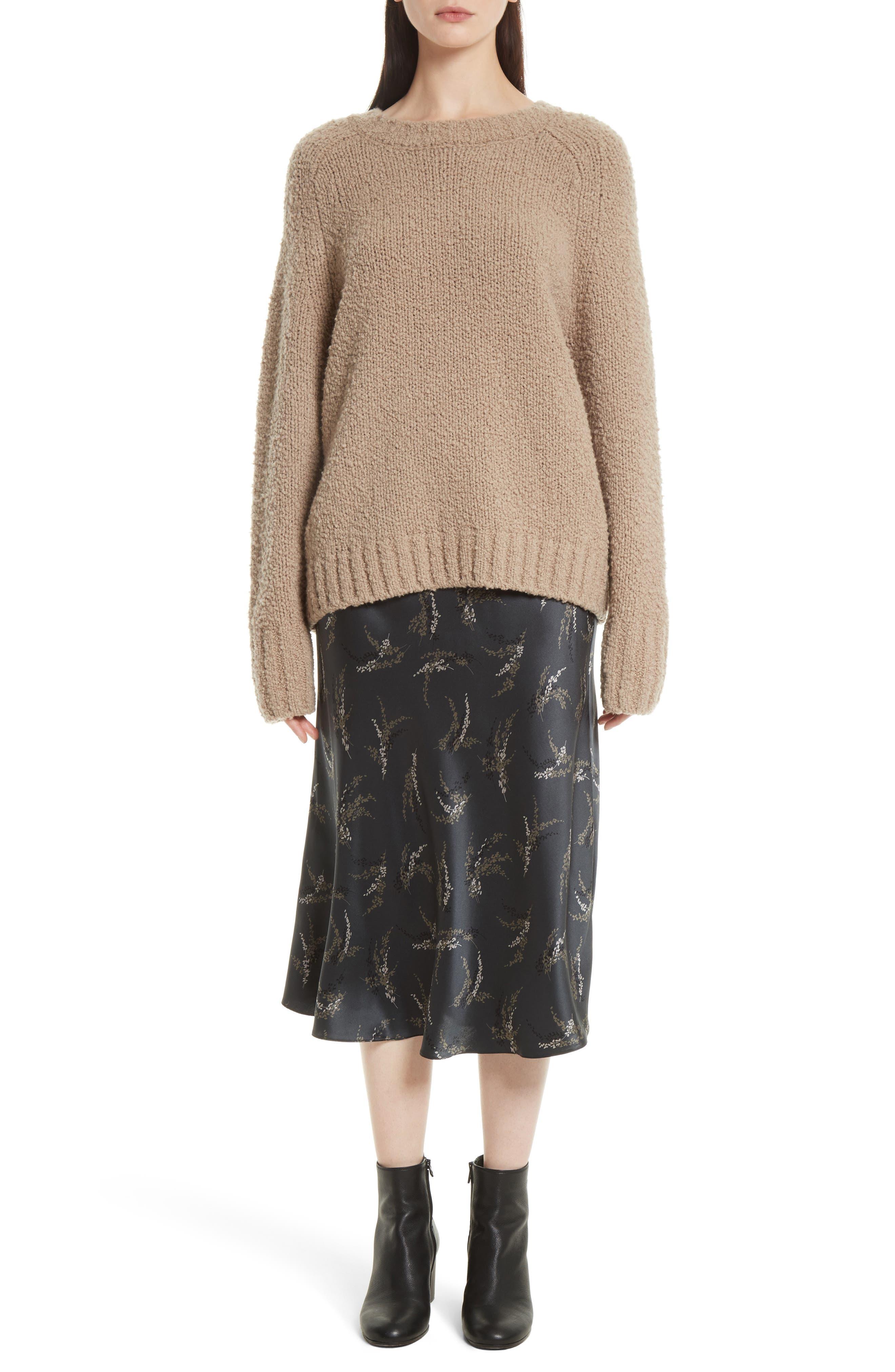 Spring Floral Pull-On Silk Midi Skirt,                             Alternate thumbnail 7, color,                             021