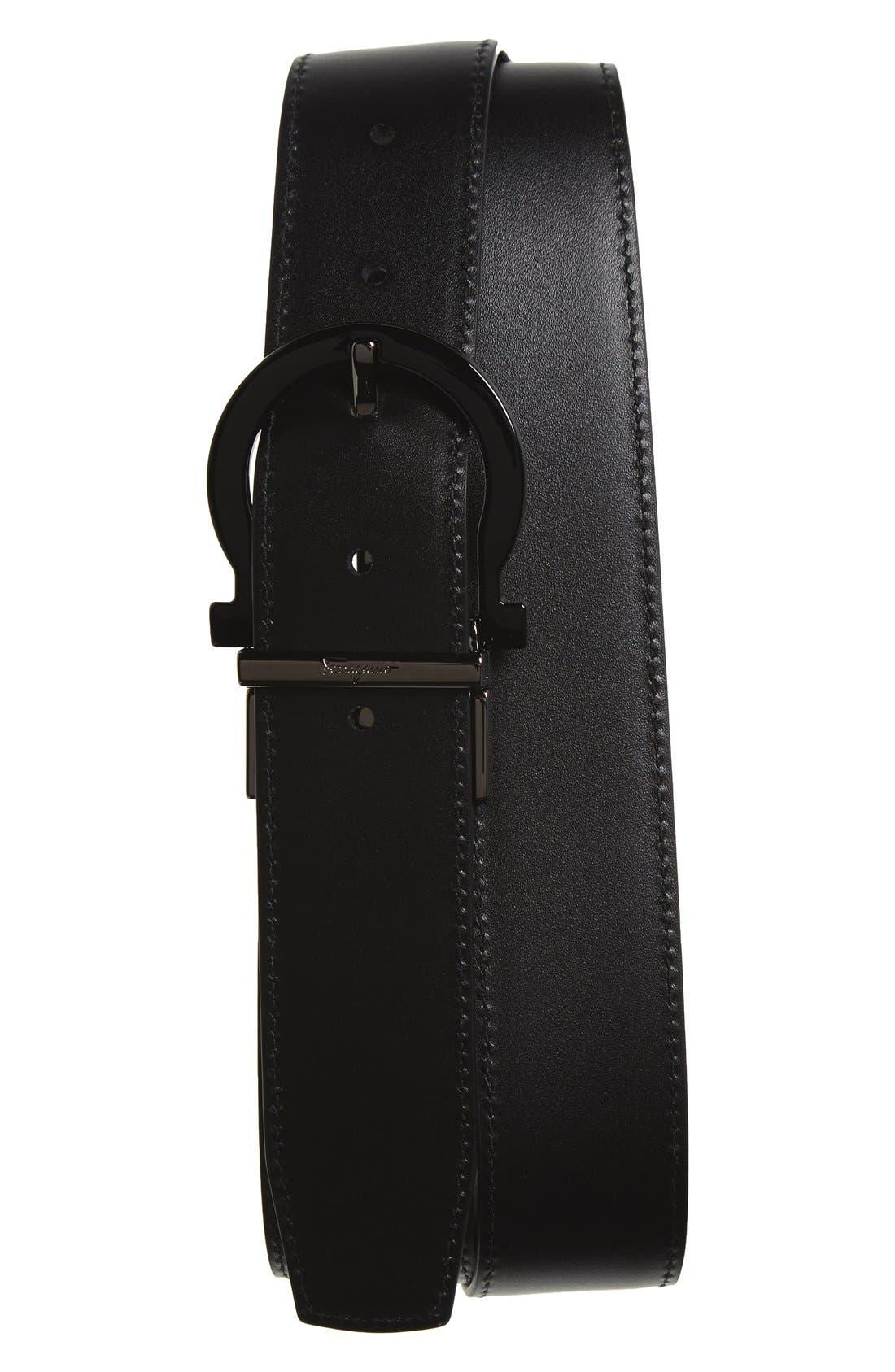 Reversible Calfskin Leather Belt,                             Alternate thumbnail 2, color,                             001