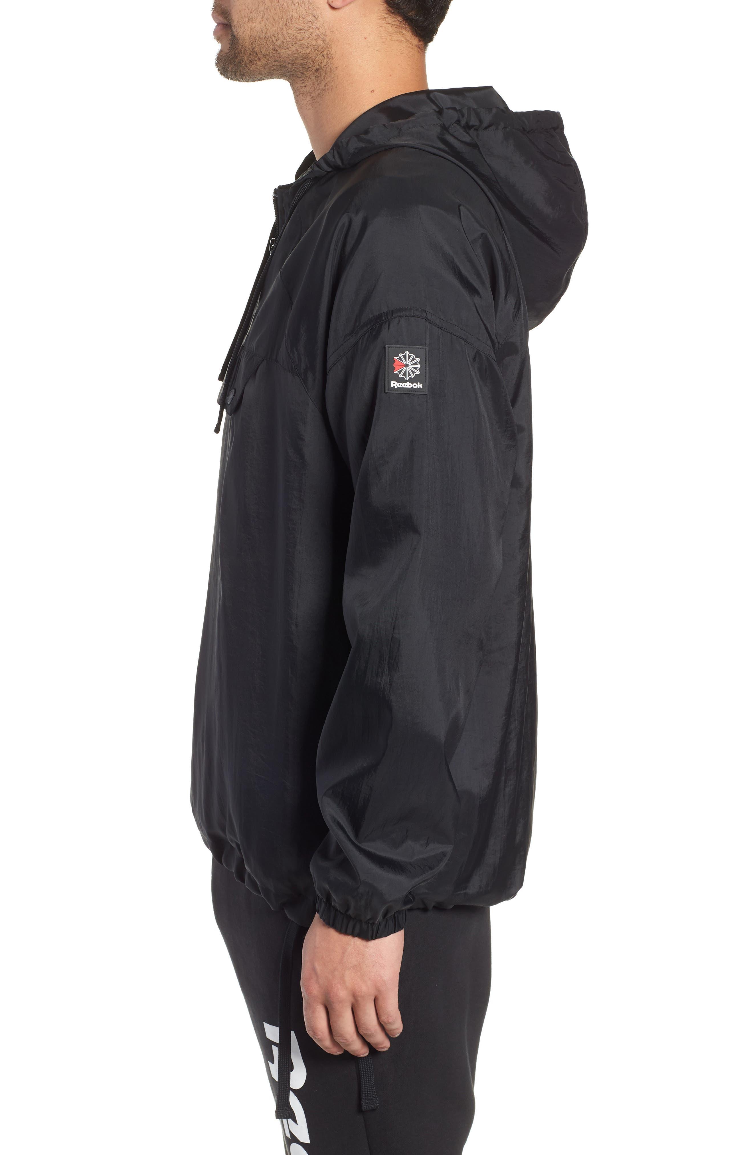 Half Zip Hooded Pullover,                             Alternate thumbnail 3, color,                             BLACK