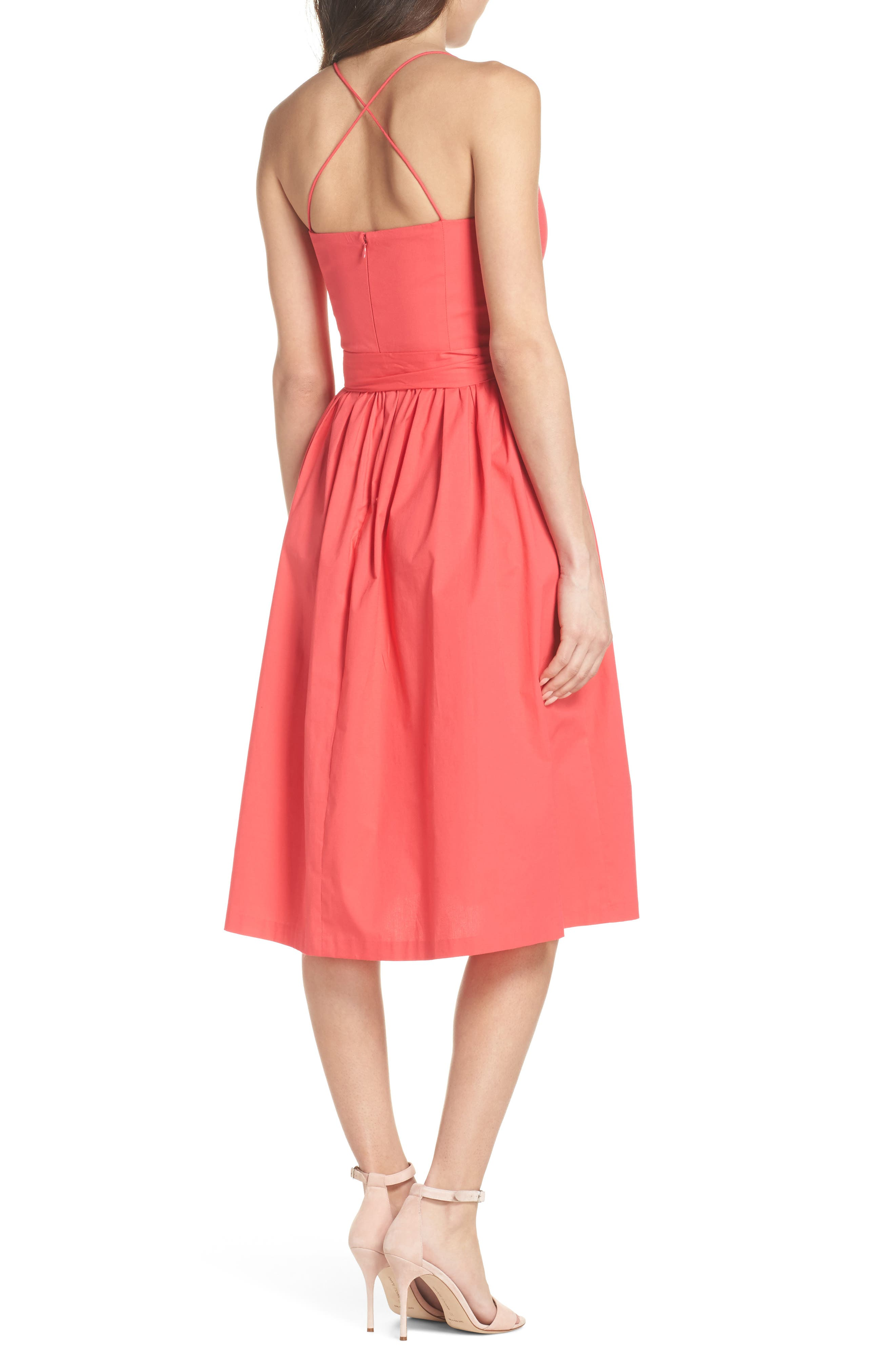 Strappy Fit & Flare Midi Dress,                             Alternate thumbnail 3, color,