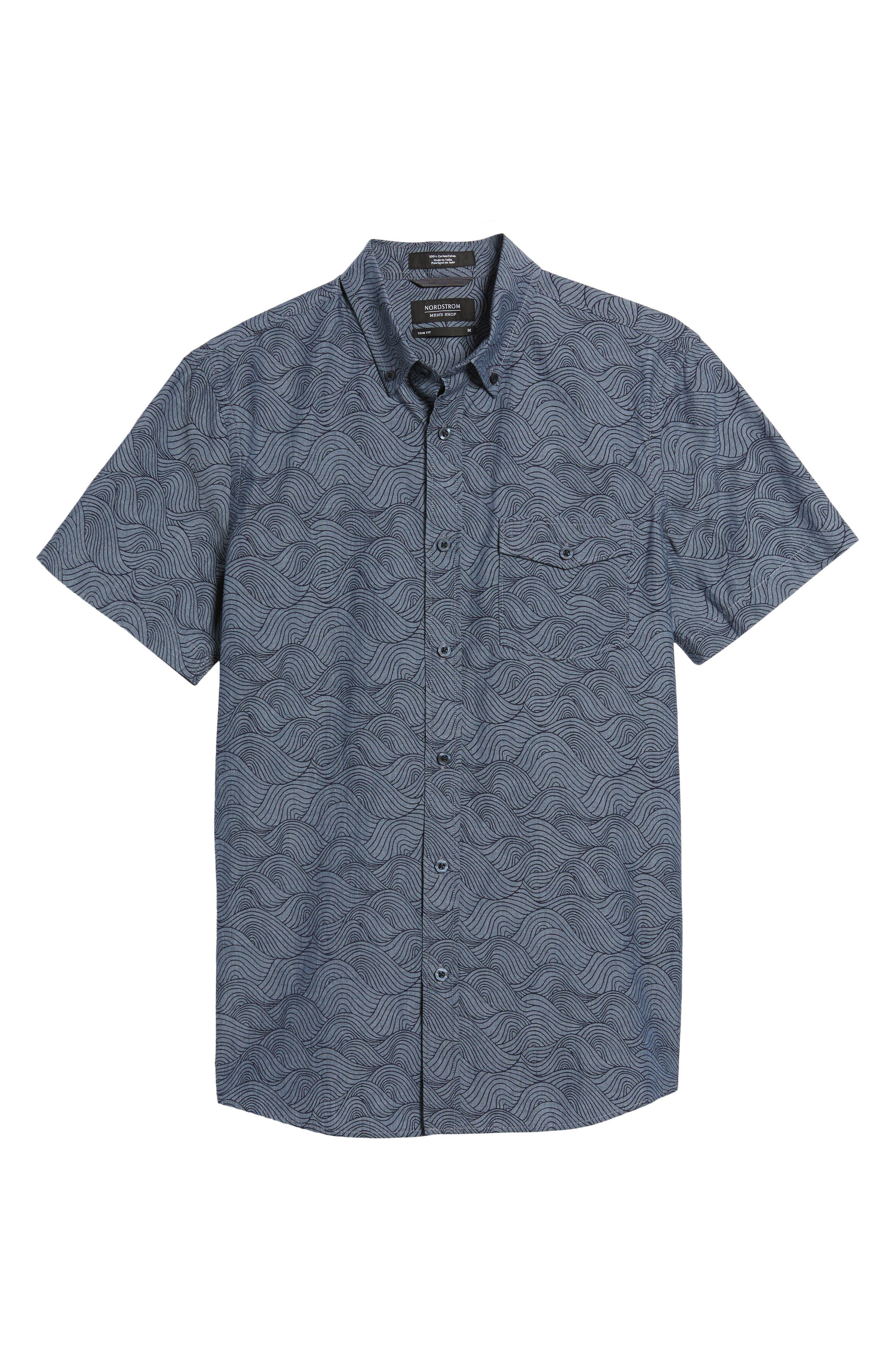 Trim Fit Ivy Print Sport Shirt,                             Alternate thumbnail 6, color,