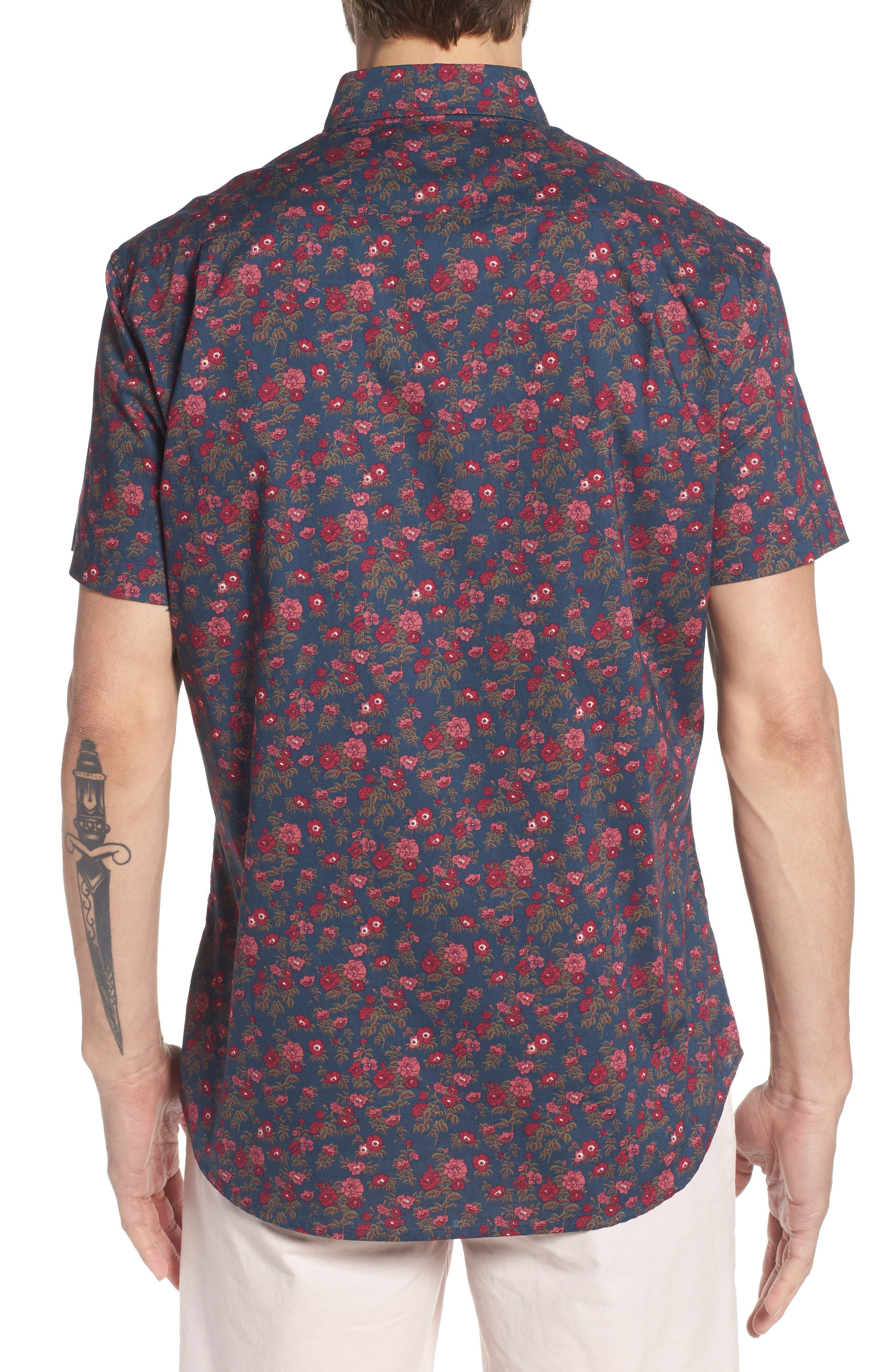 Riviera Slim Fit Floral Print Sport Shirt,                             Alternate thumbnail 2, color,                             400