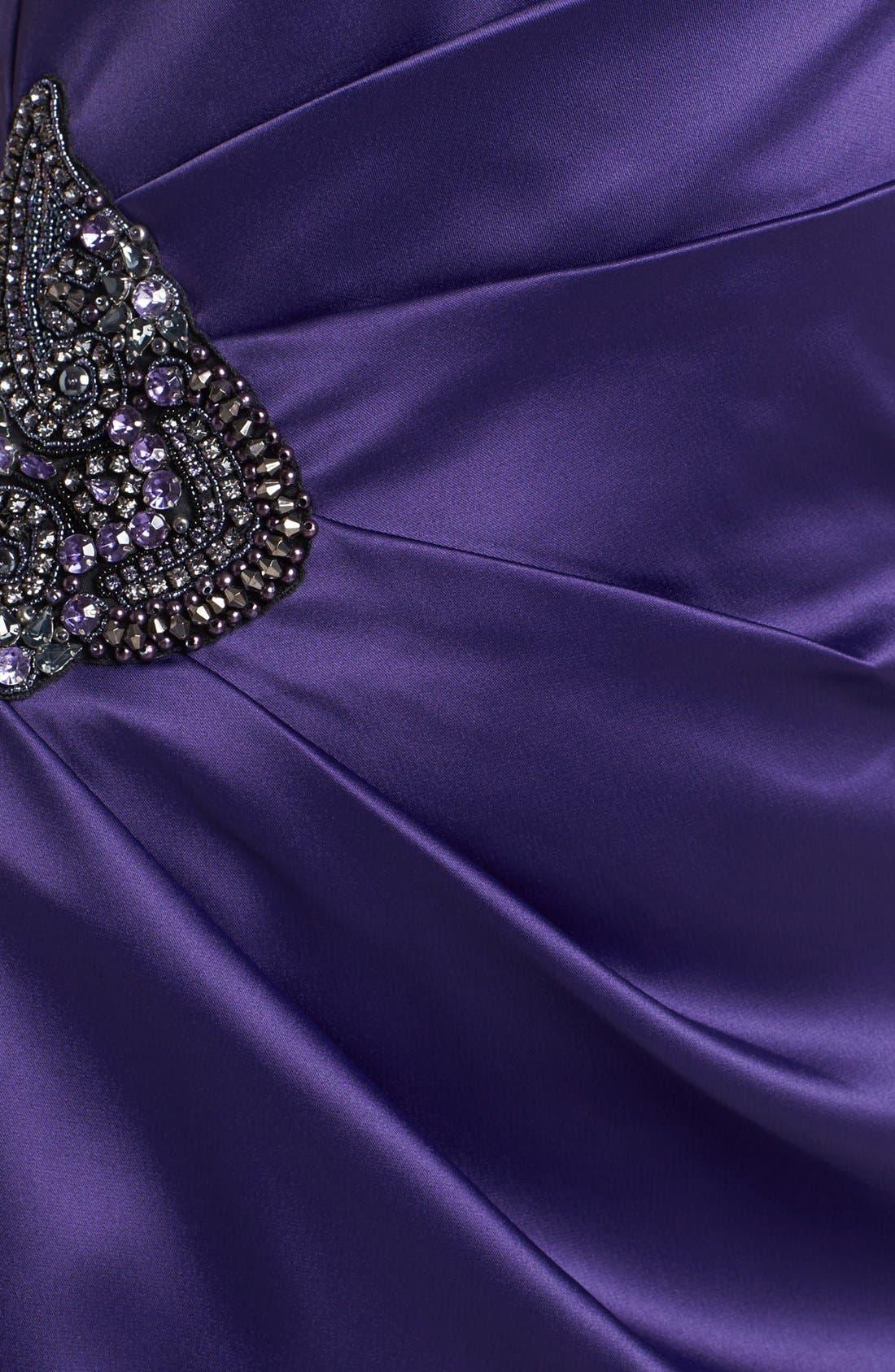 Beaded One-Shoulder Satin Dress,                             Alternate thumbnail 22, color,
