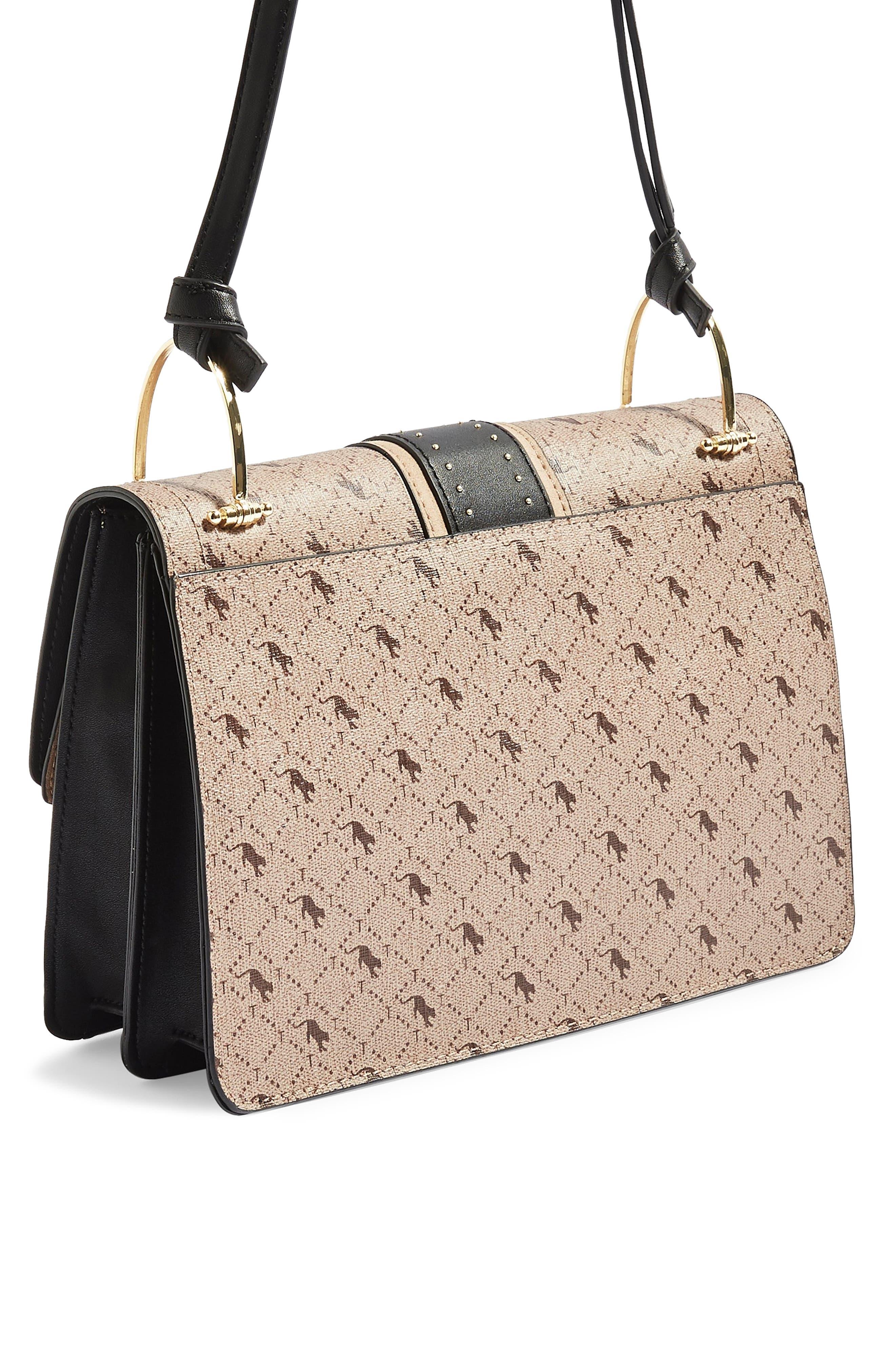 Madrid Studded Faux Leather Shoulder Bag,                             Alternate thumbnail 3, color,                             TAUPE MULTI