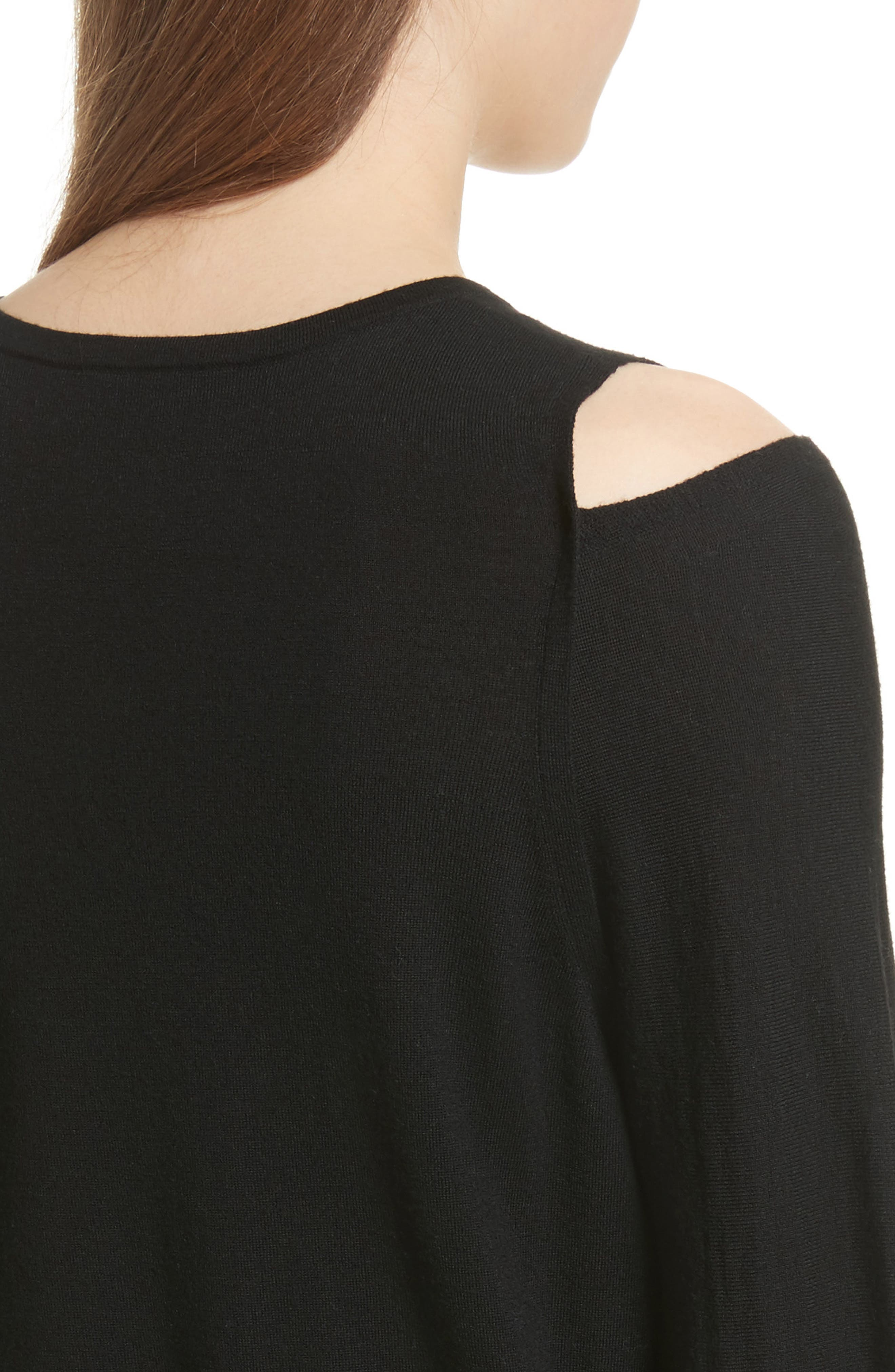 Wool Cold Shoulder Sweater,                             Alternate thumbnail 2, color,                             001