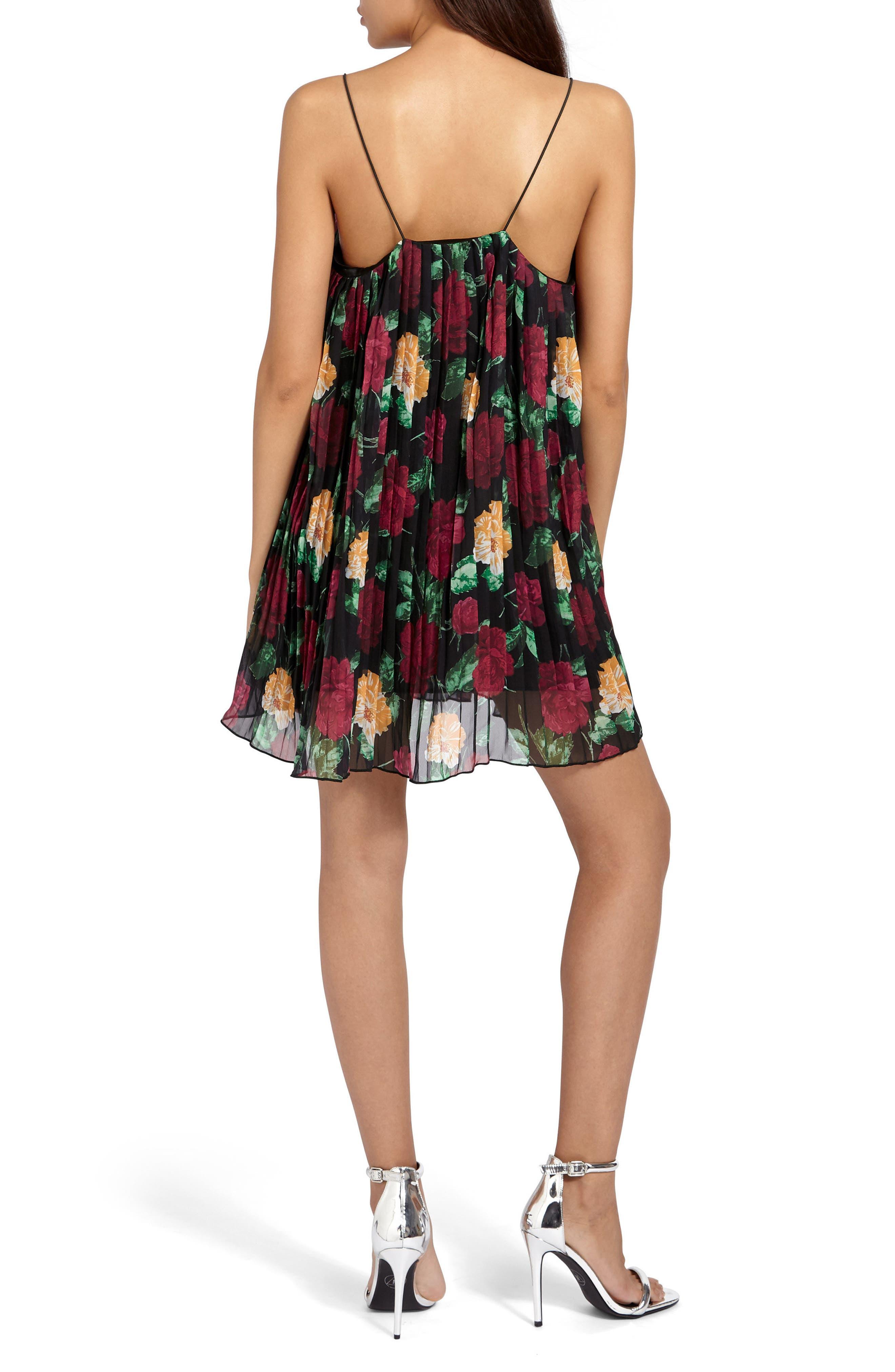 Pleated Crepe Minidress,                             Alternate thumbnail 2, color,                             001