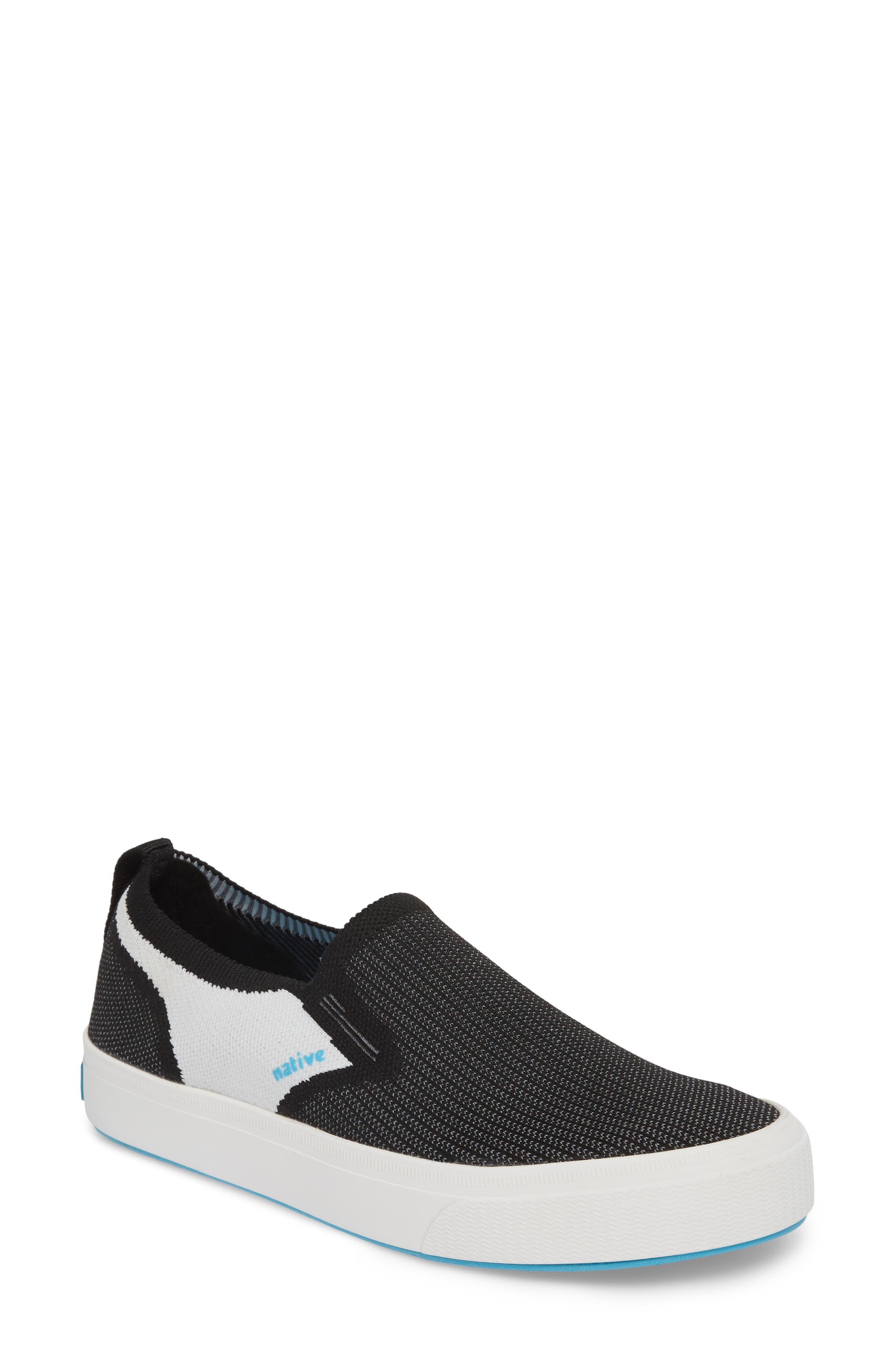 Miles Liteknit Slip-On Sneaker,                             Main thumbnail 1, color,                             JIFFY BLACK/ SHELL WHITE