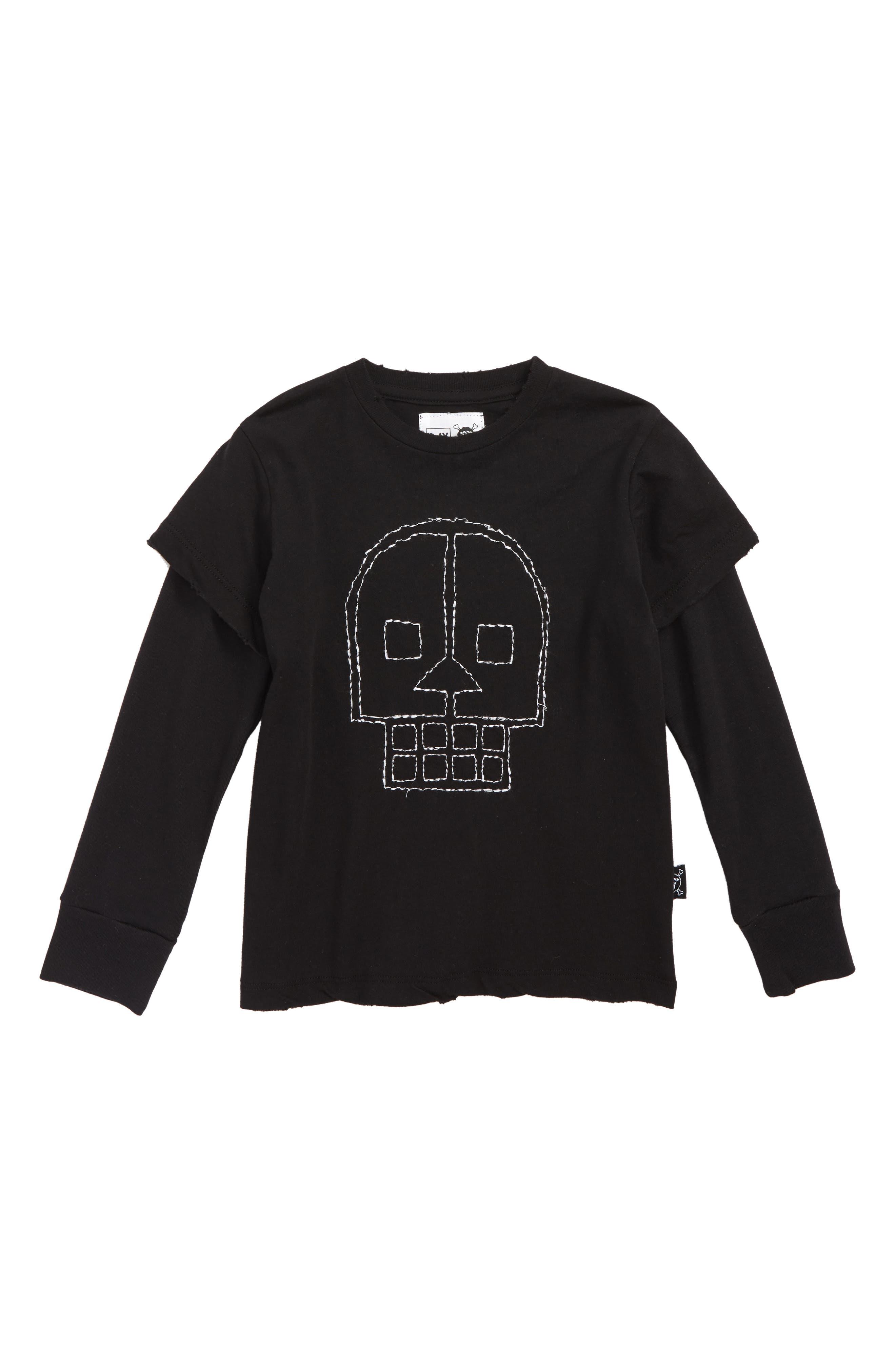 Embroidered Skull Layered Shirt,                             Main thumbnail 1, color,                             001