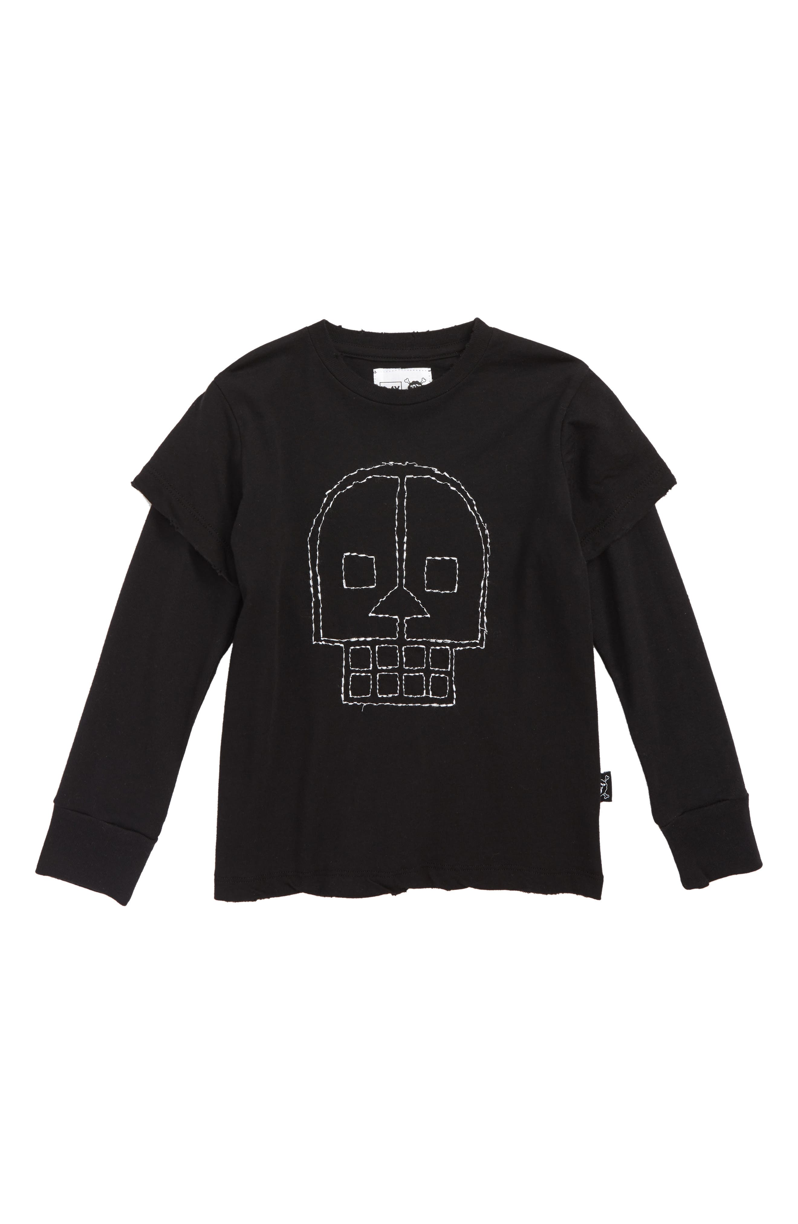 Embroidered Skull Layered Shirt,                         Main,                         color, 001