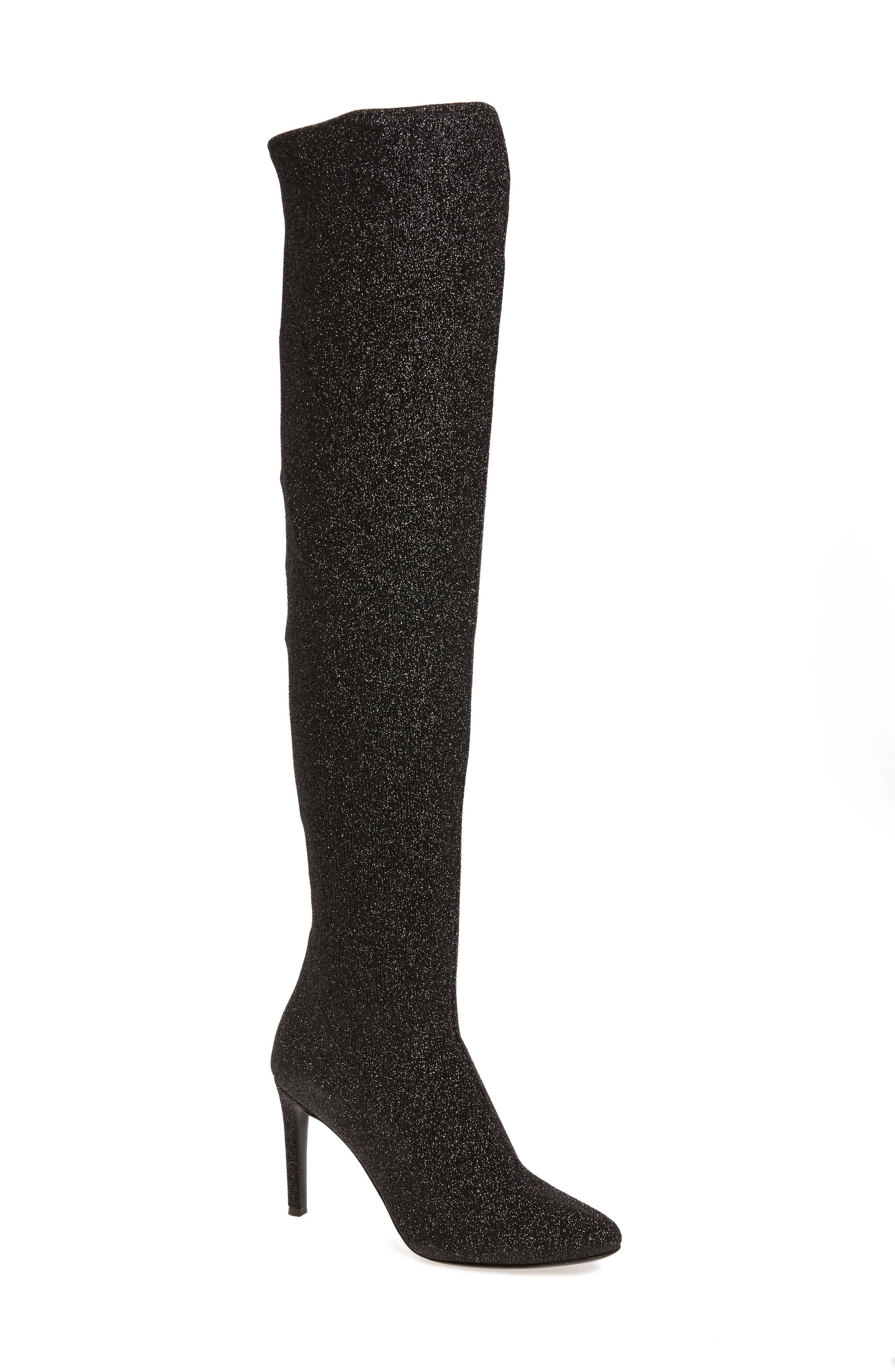 Glitter Stretch Over the Knee Boot,                             Main thumbnail 1, color,                             001