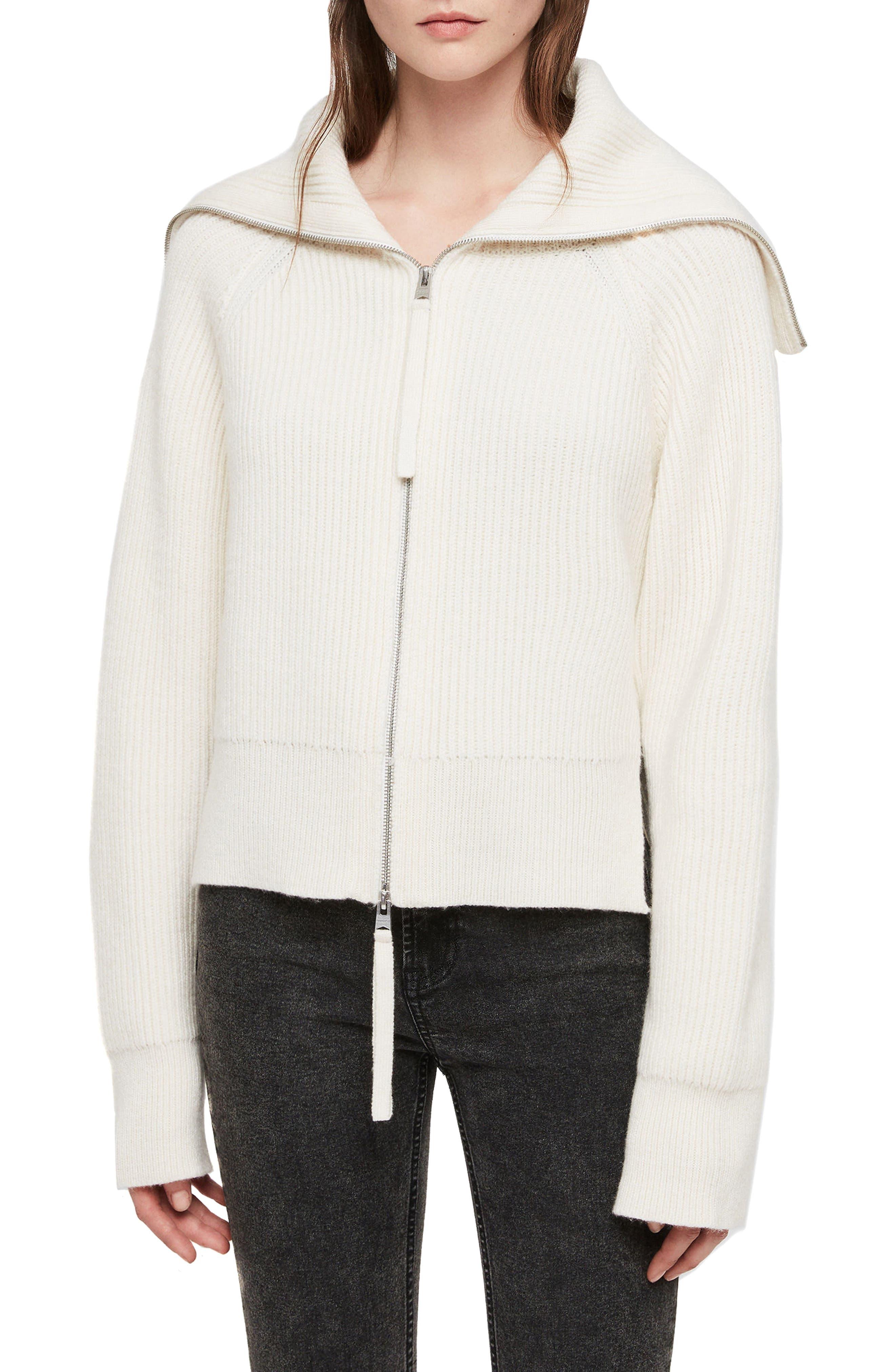 ALLSAINTS Jones Zip-Front Cardigan in White