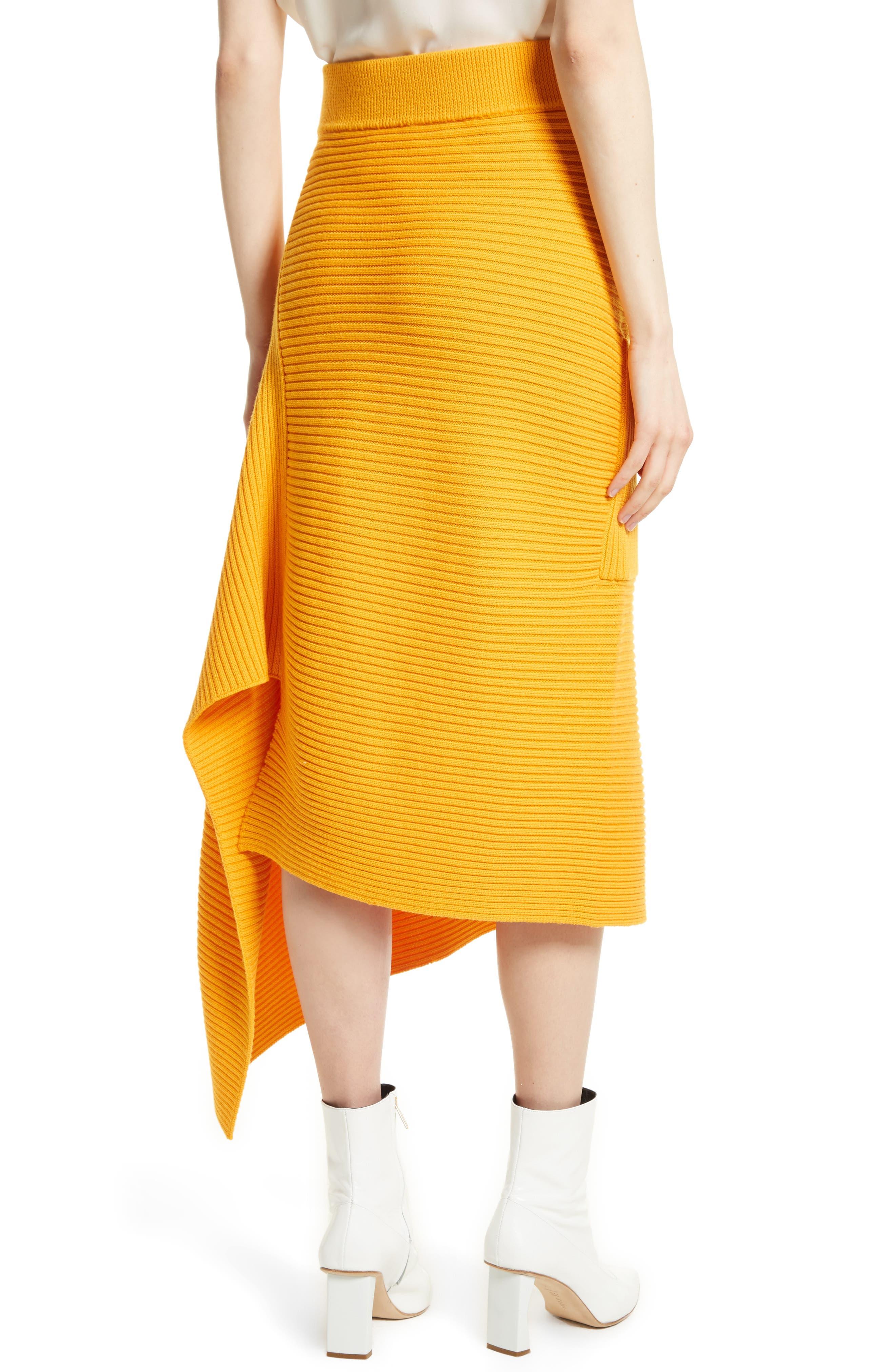 Asymmetrical Rib Merino Wool Skirt,                             Alternate thumbnail 4, color,