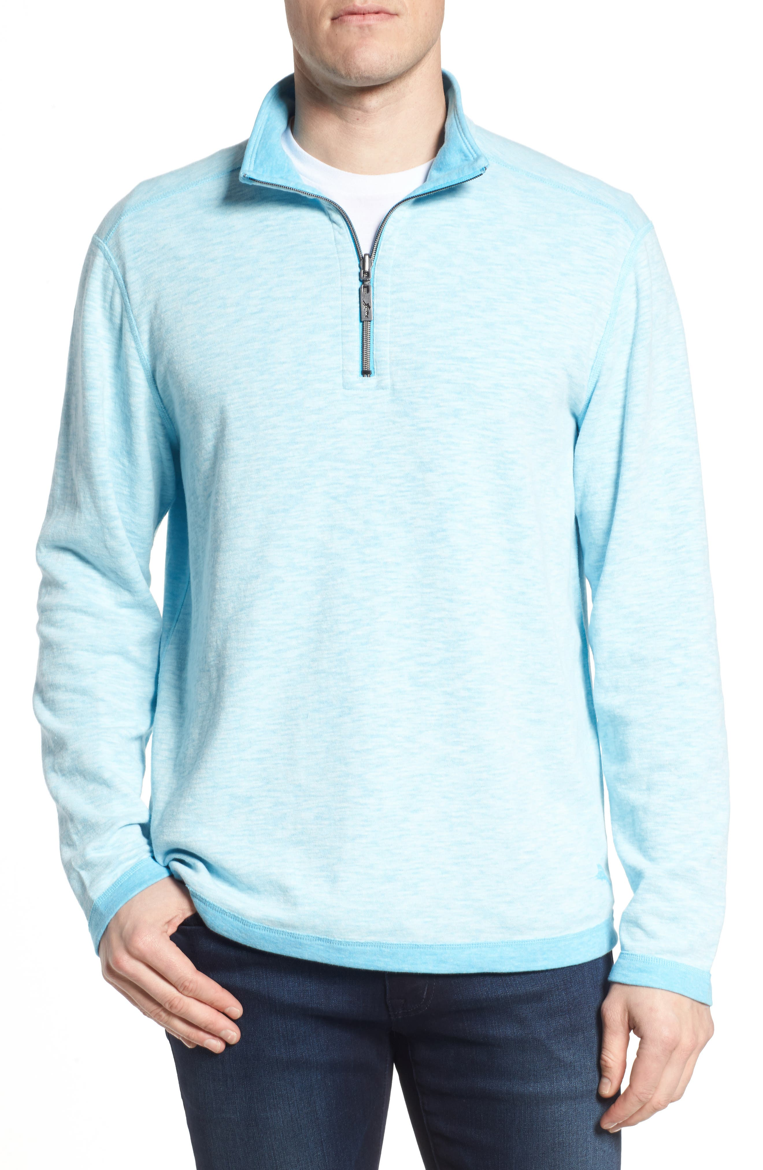 Sea Glass Reversible Quarter Zip Pullover,                             Main thumbnail 3, color,