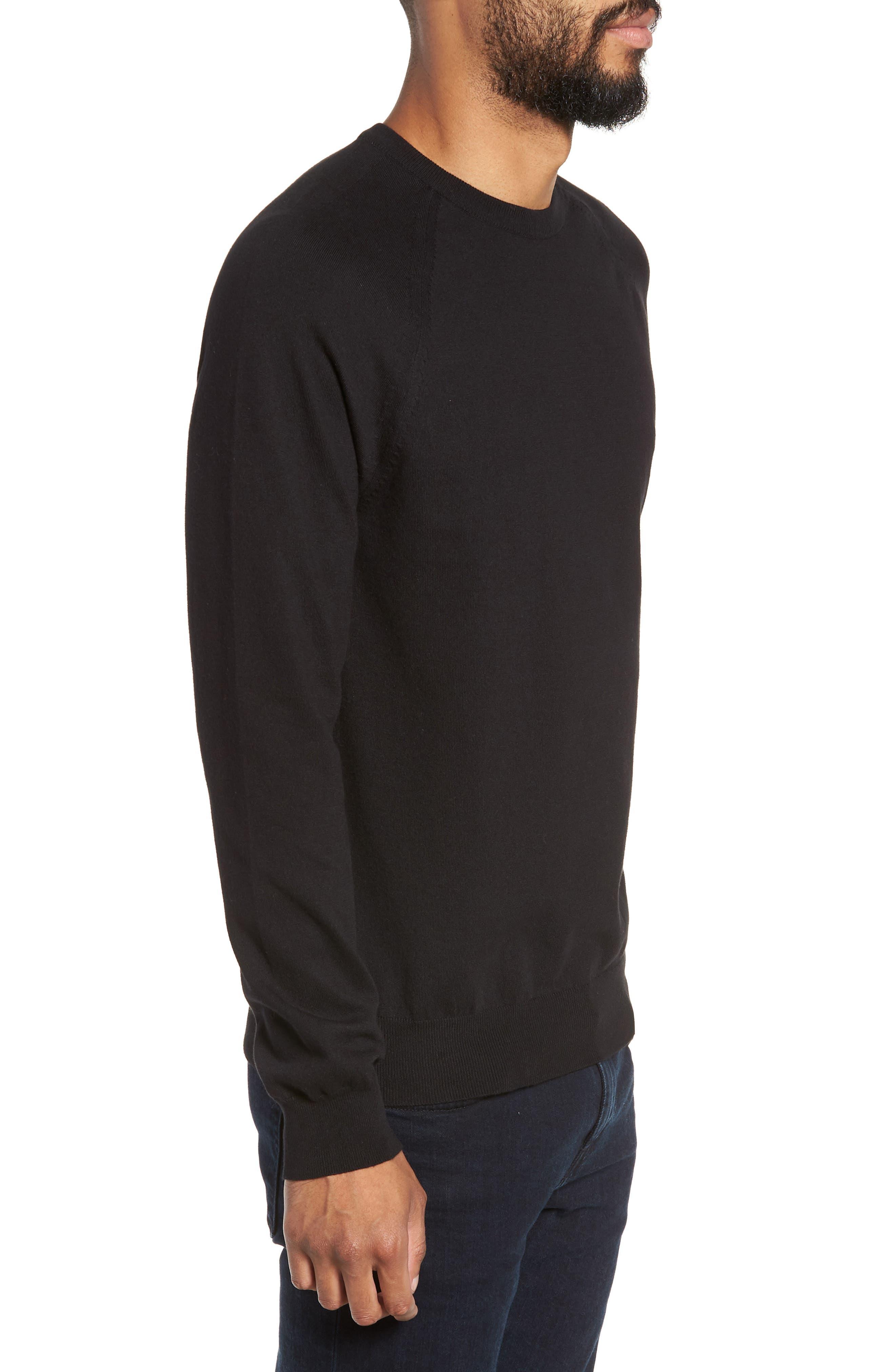 Regular Fit Stretch Cotton Crewneck Sweater,                             Alternate thumbnail 3, color,                             BLACK