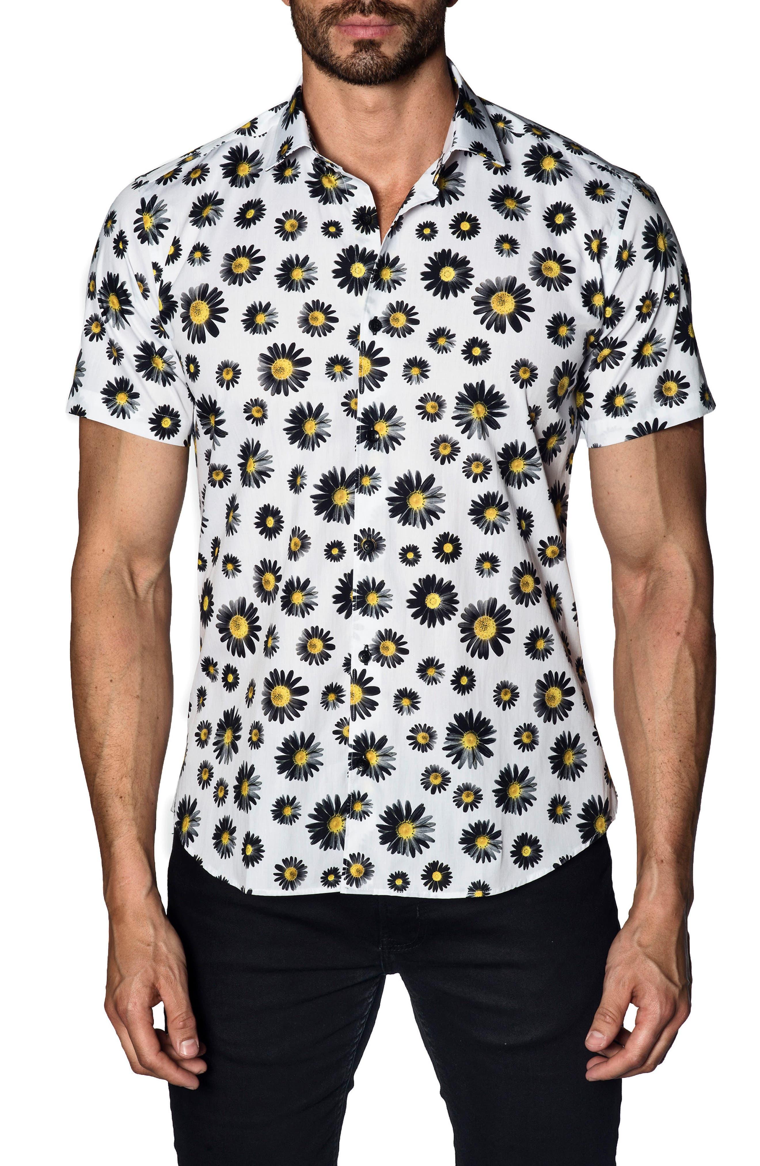 Trim Fit Floral Print Sport Shirt,                         Main,                         color, 400