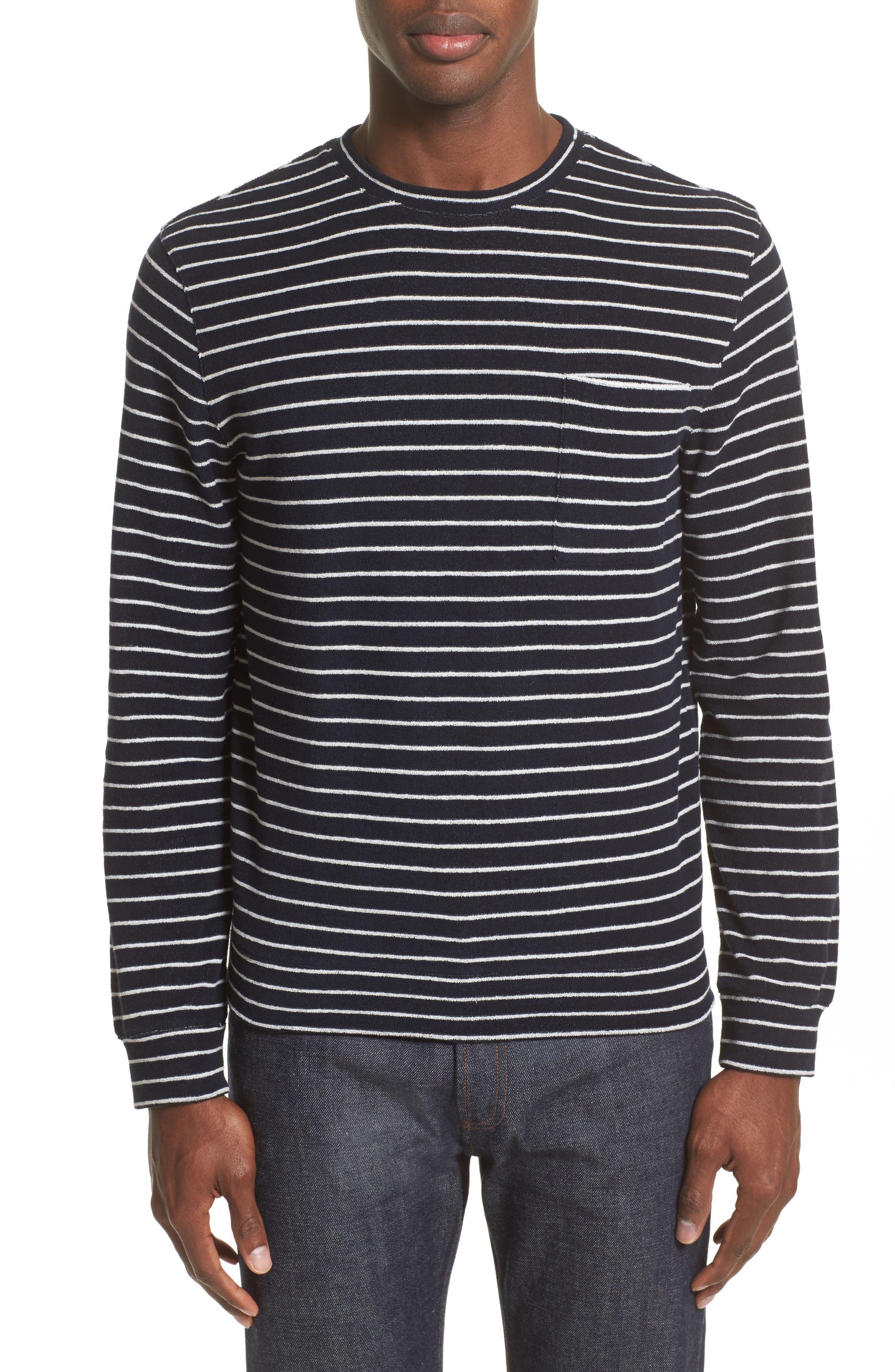 Yogi Striped Terry Sweatshirt,                             Main thumbnail 1, color,                             410