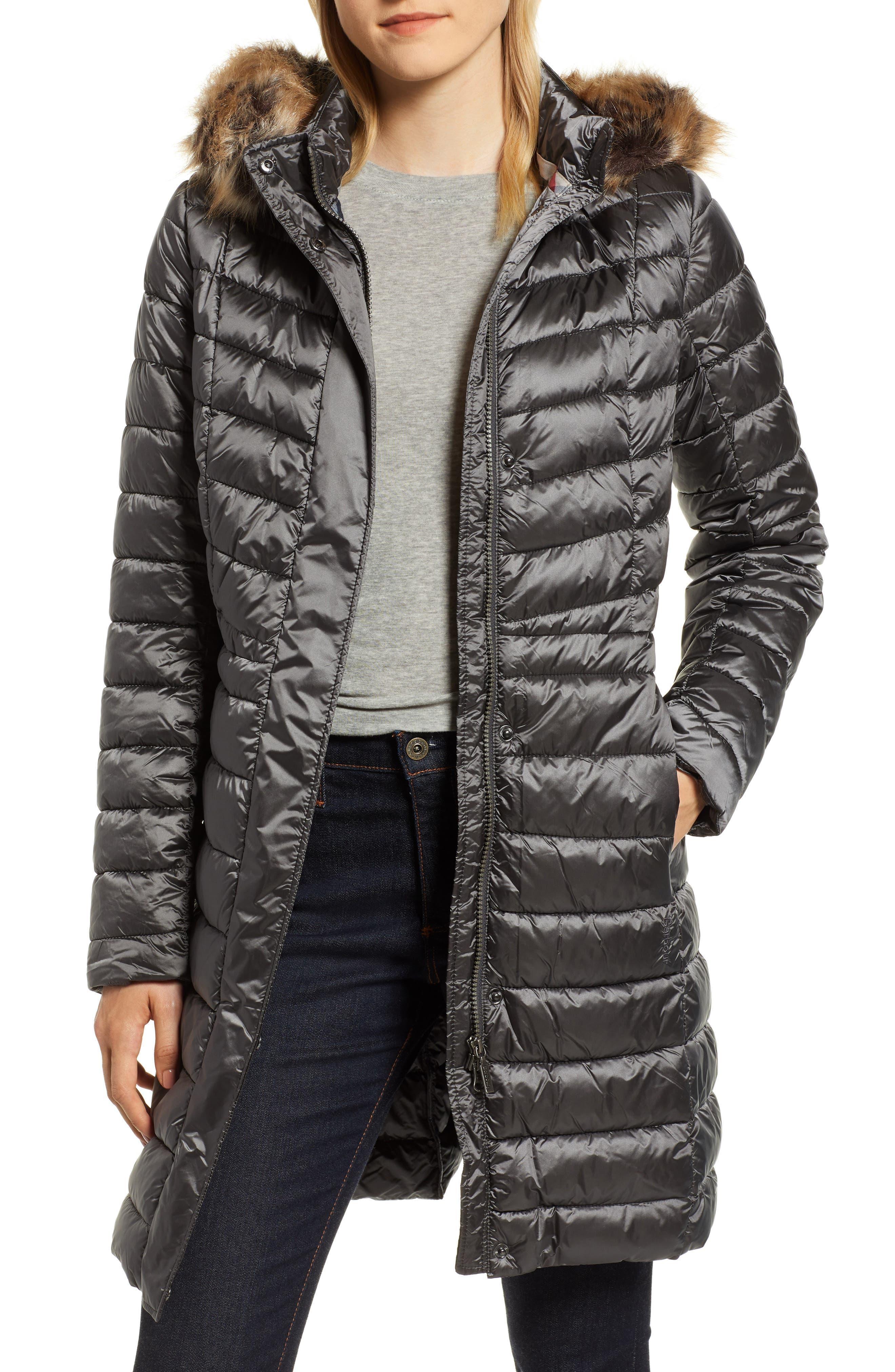 Barbour Berneray Faux Fur Trim Quilted Jacket, US / 8 UK - Grey