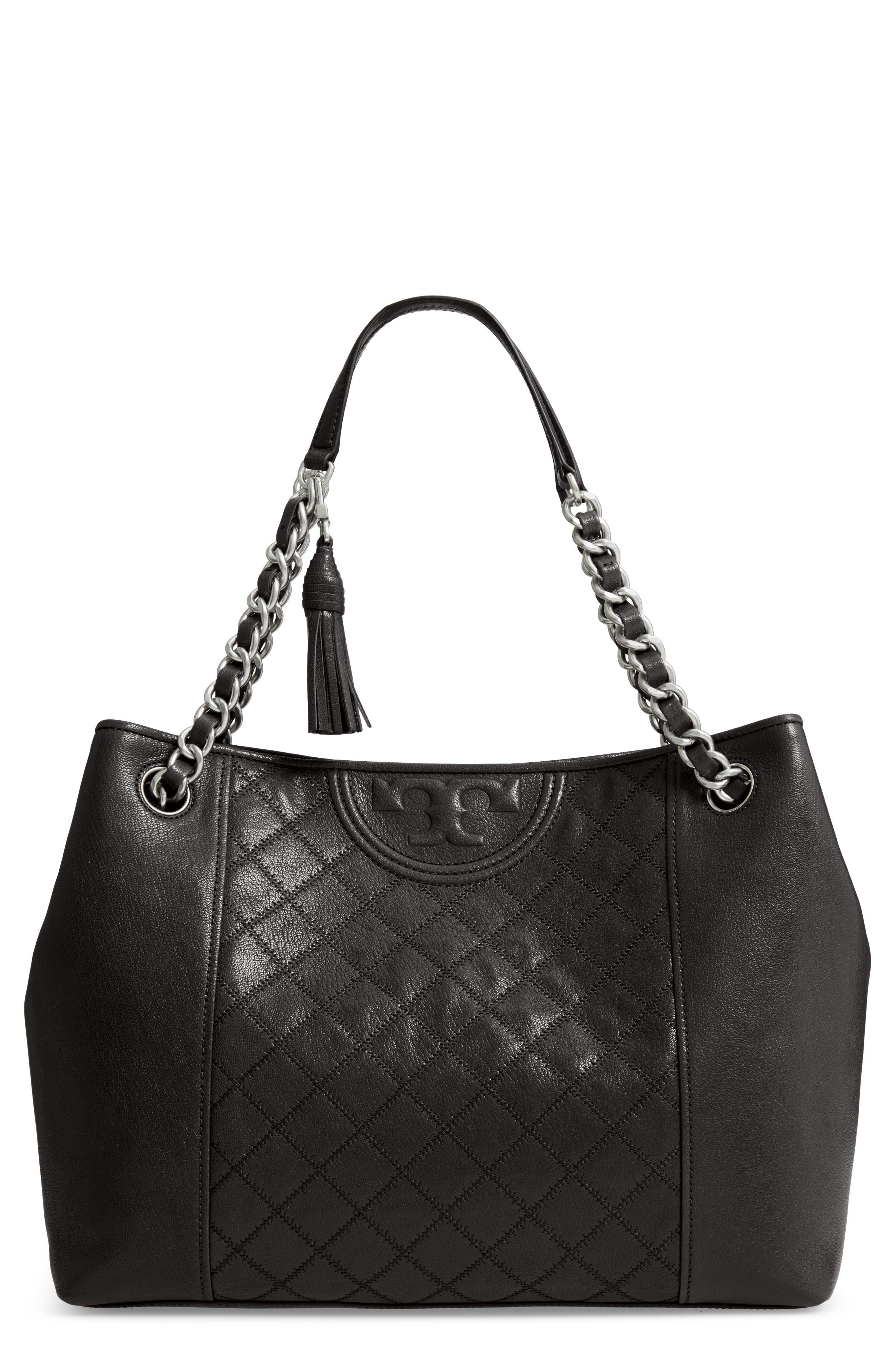 Fleming Distressed Leather Tote,                         Main,                         color, BLACK