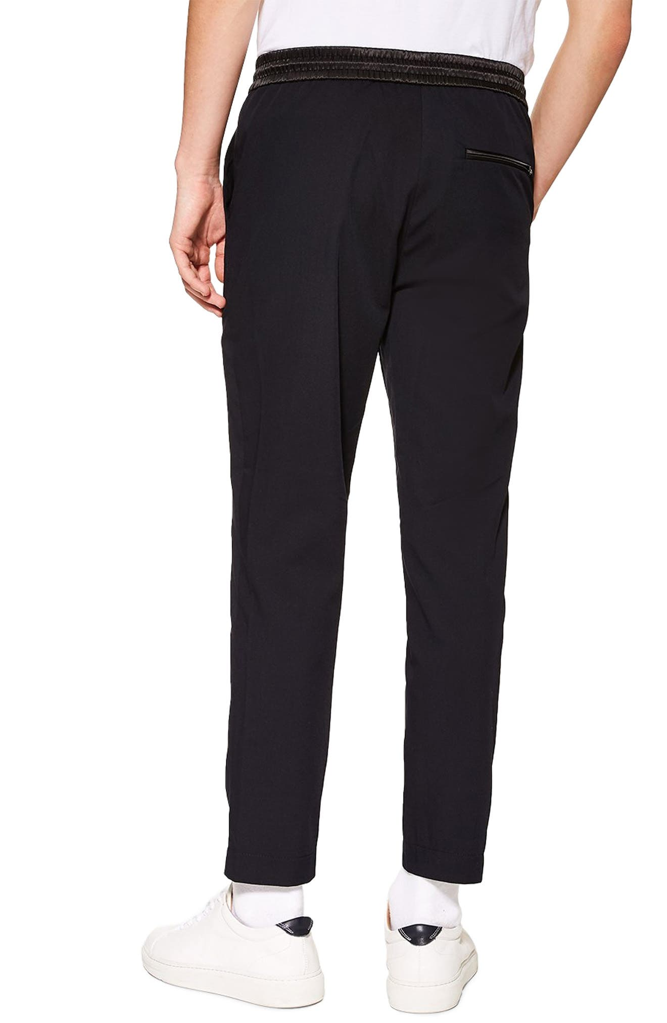 TOPMAN,                             Relaxed Cropped Trousers,                             Alternate thumbnail 2, color,                             NAVY BLUE