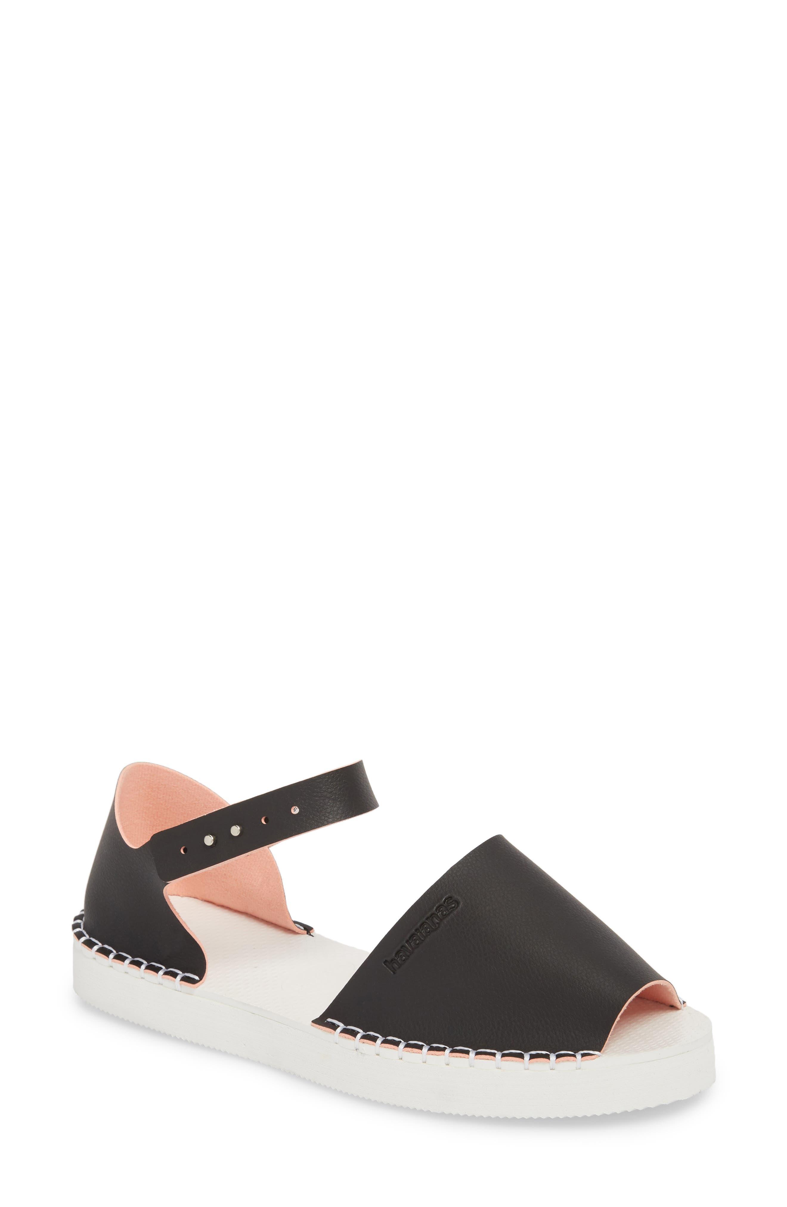 Flatform Fashion Sandal,                             Main thumbnail 1, color,                             BLACK/ PINK