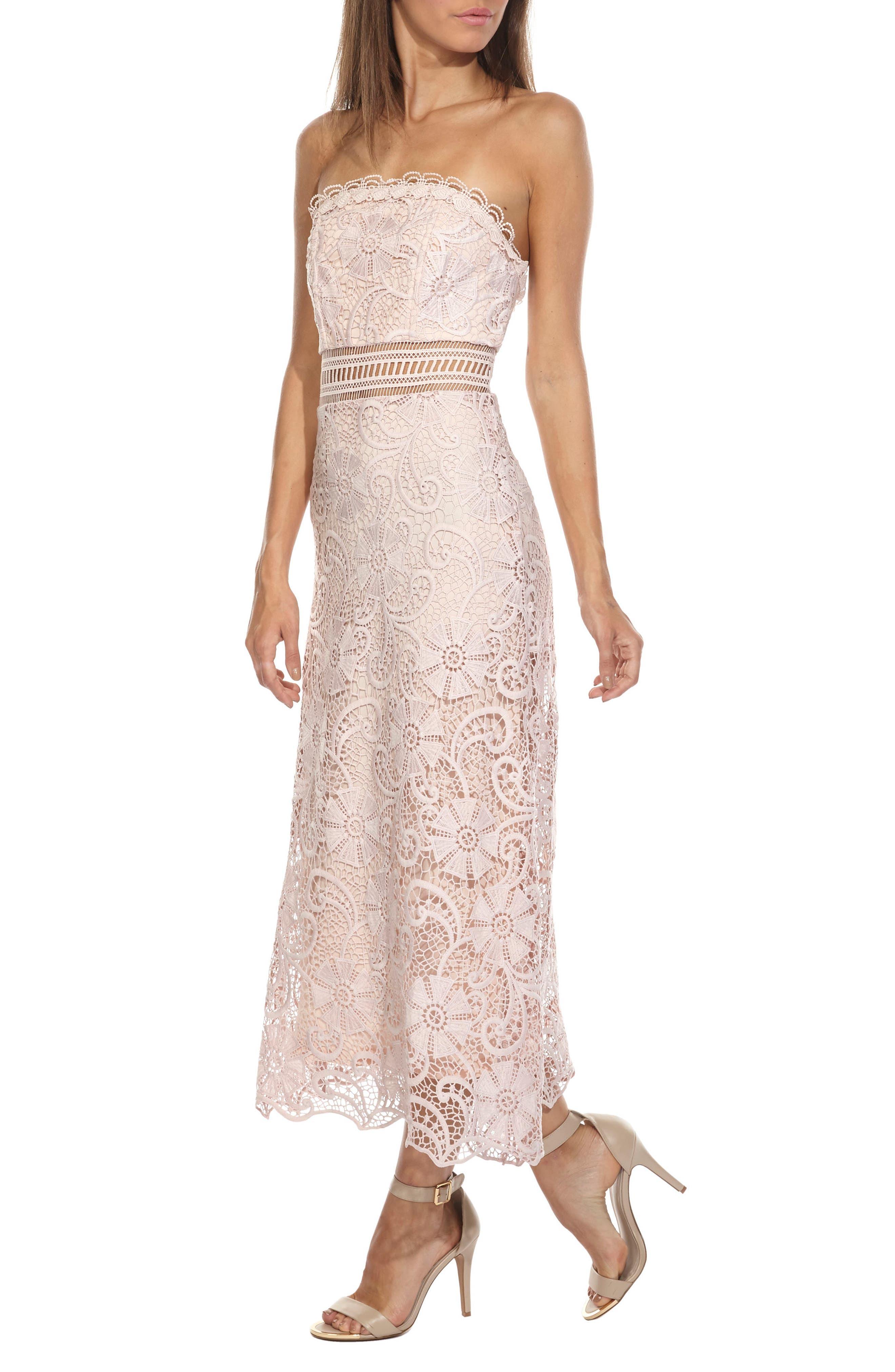Yani Lace Strapless Midi Dress,                             Alternate thumbnail 3, color,                             PINK