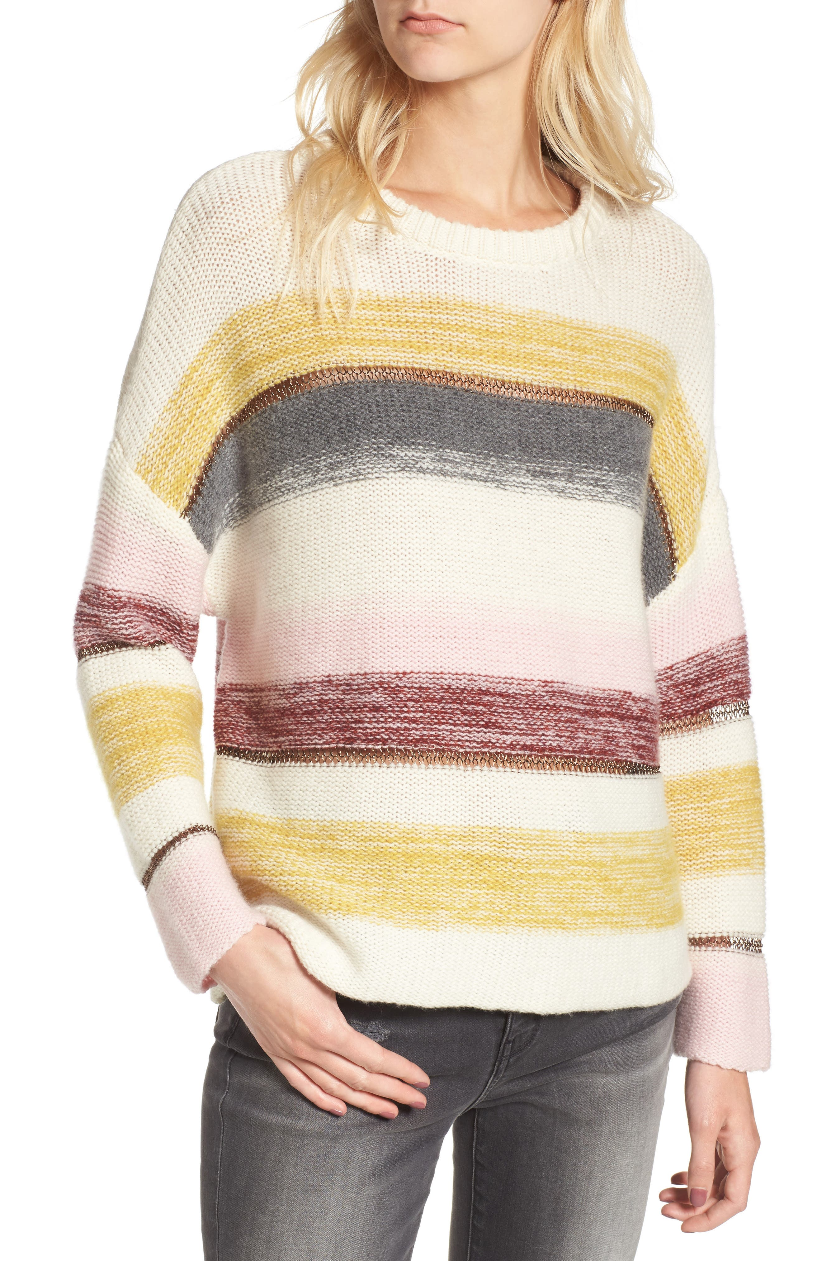 Daphne Stripe Wool & Cashmere Sweater,                             Main thumbnail 1, color,                             672